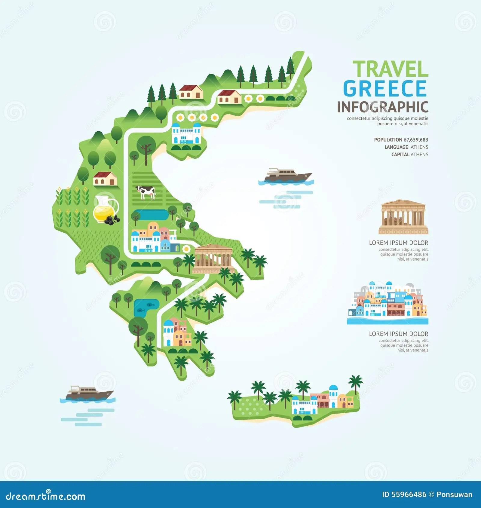 Il Modello Di Forma Della Mappa Della Grecia Di Viaggio E