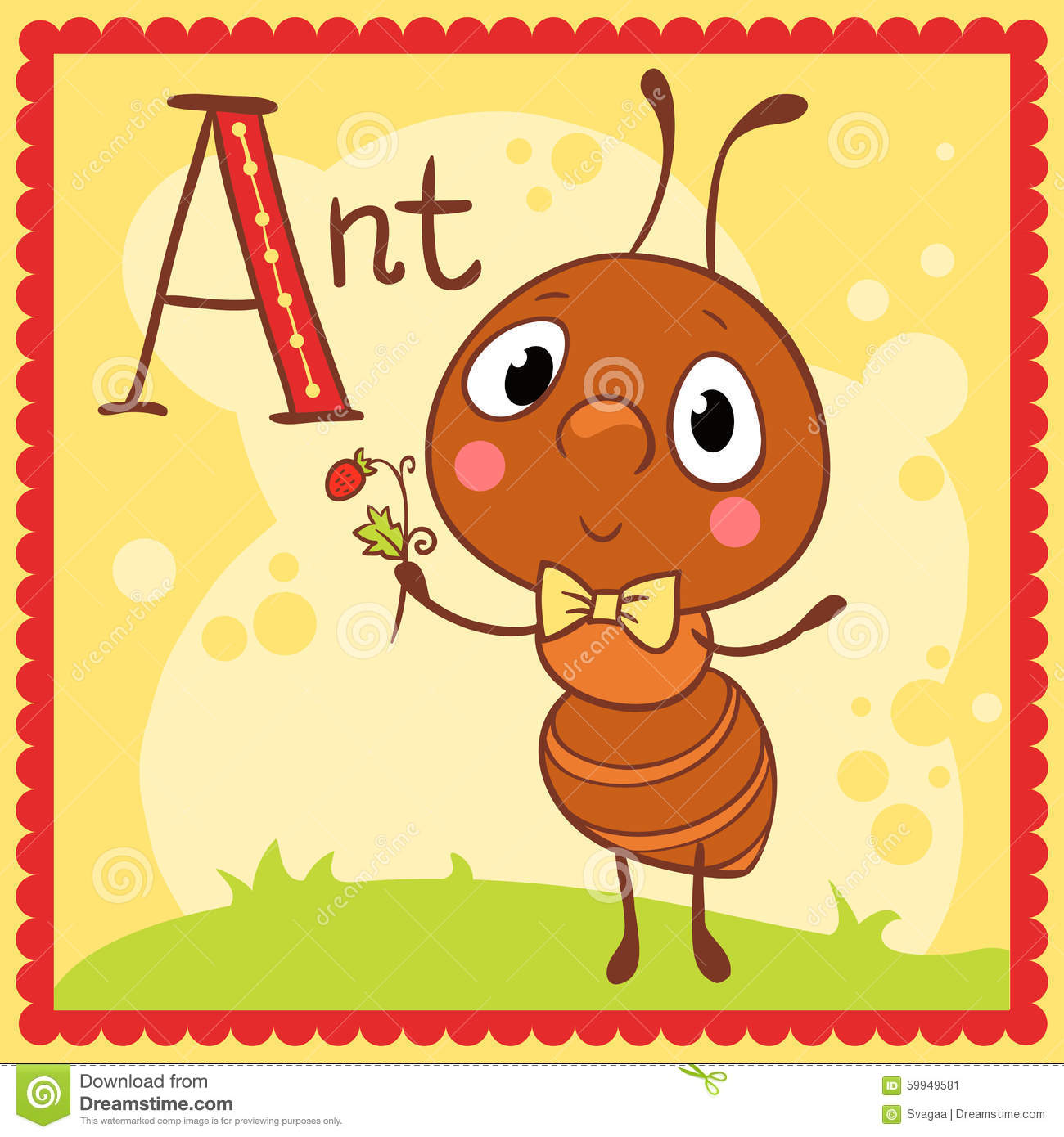 Illustrated Alphabet Letter A And Ant Stock Vector