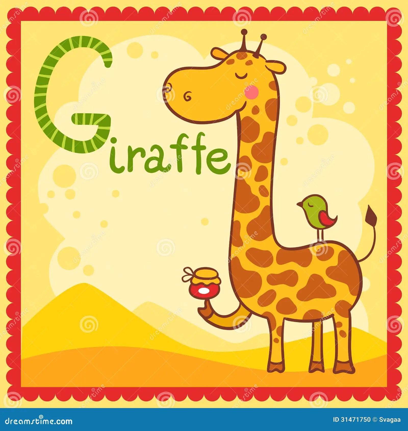 Illustrated Alphabet Letter G And Giraffe Stock Vector
