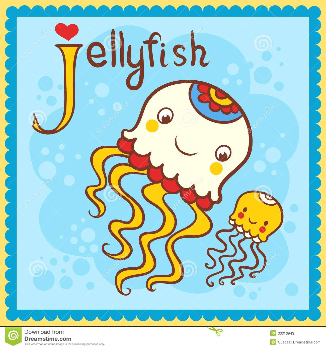 Illustrated Alphabet Letter J And Jellyfish Stock Vector