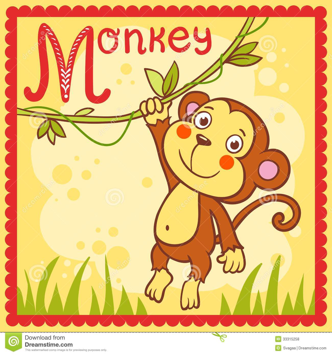 Illustrated Alphabet Letter M And Monkey Cartoon Vector