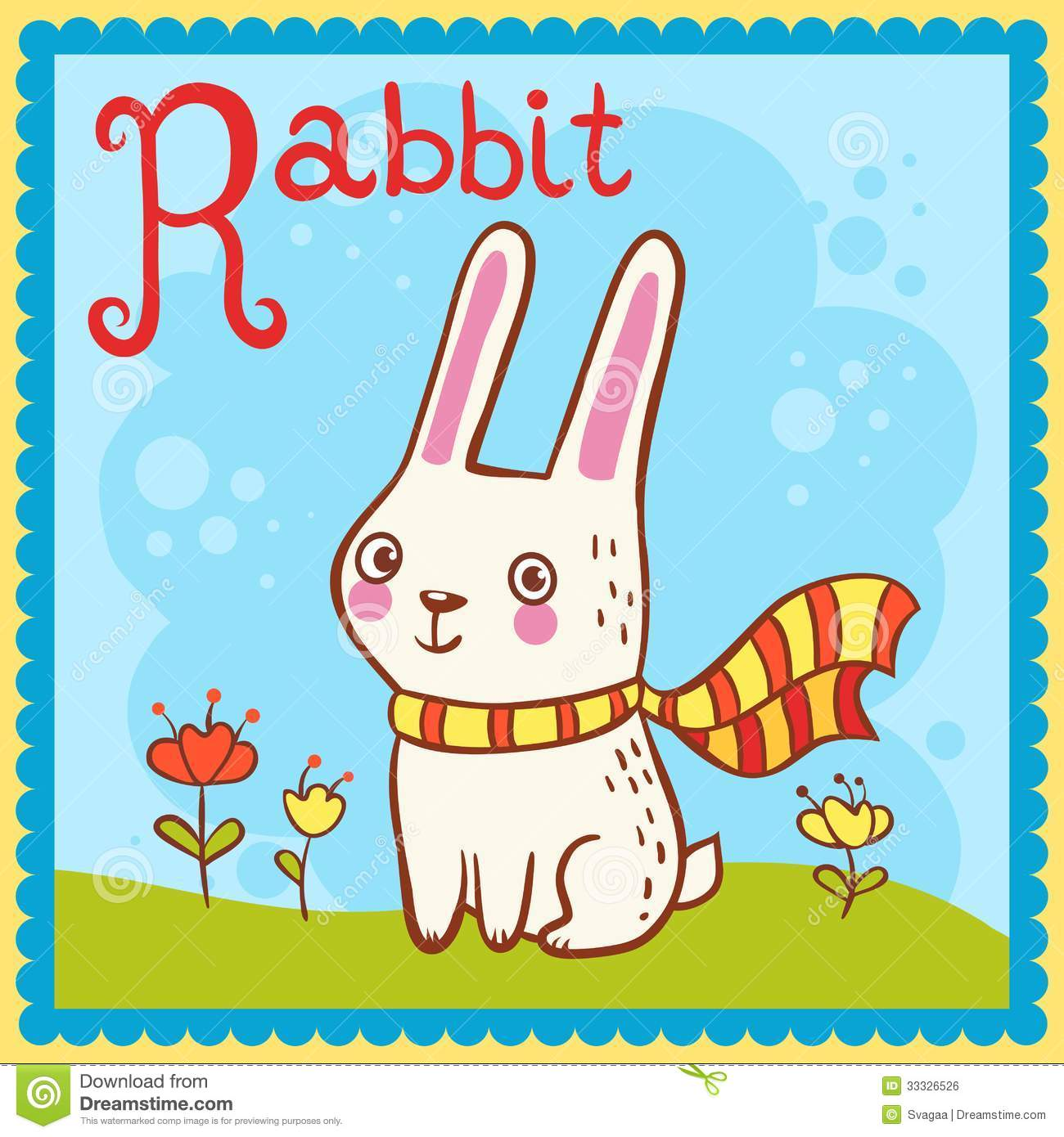 Illustrated Alphabet Letter R And Rabbit Stock Vector