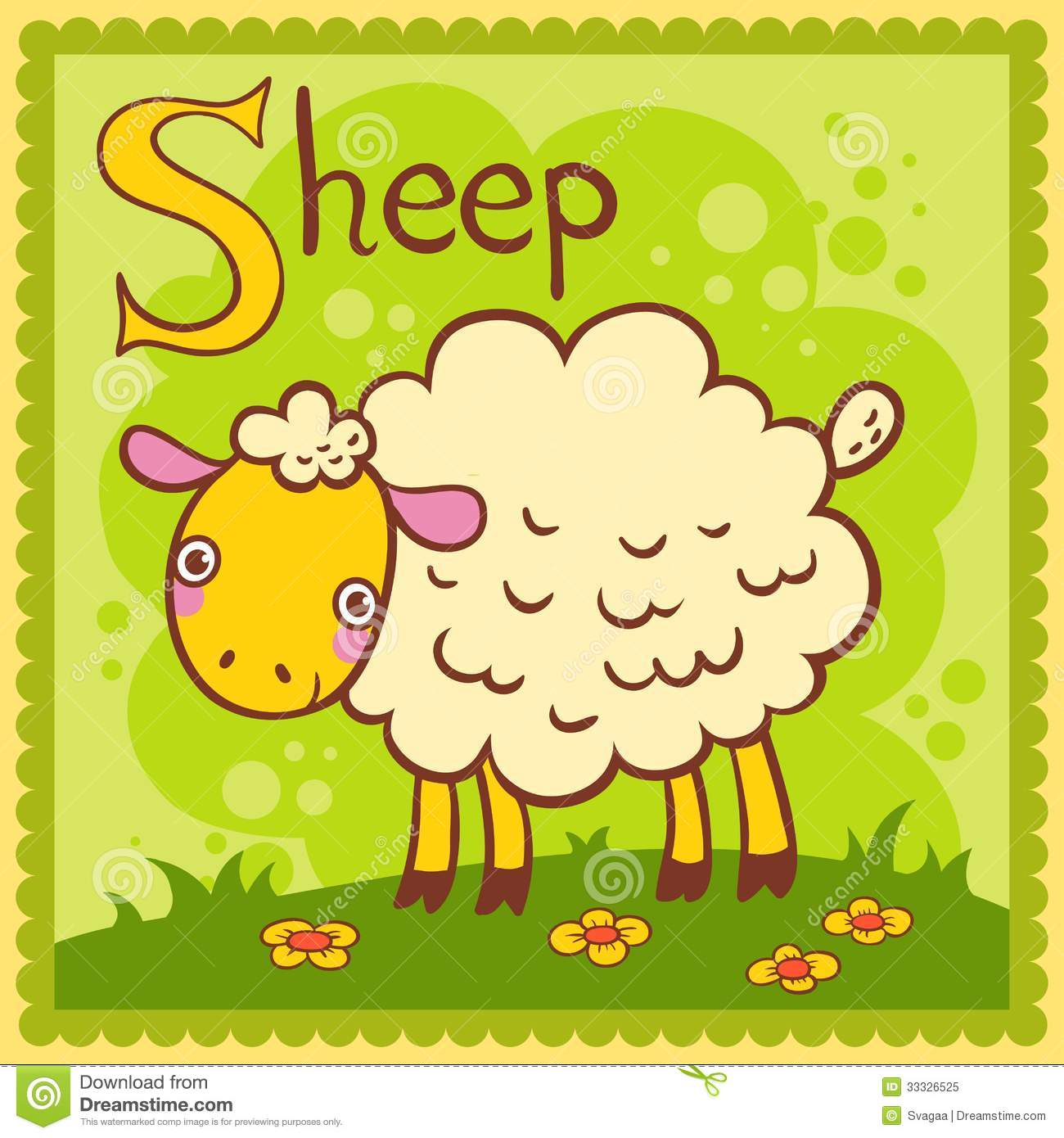 Illustrated Alphabet Letter S And Sheep Stock Vector