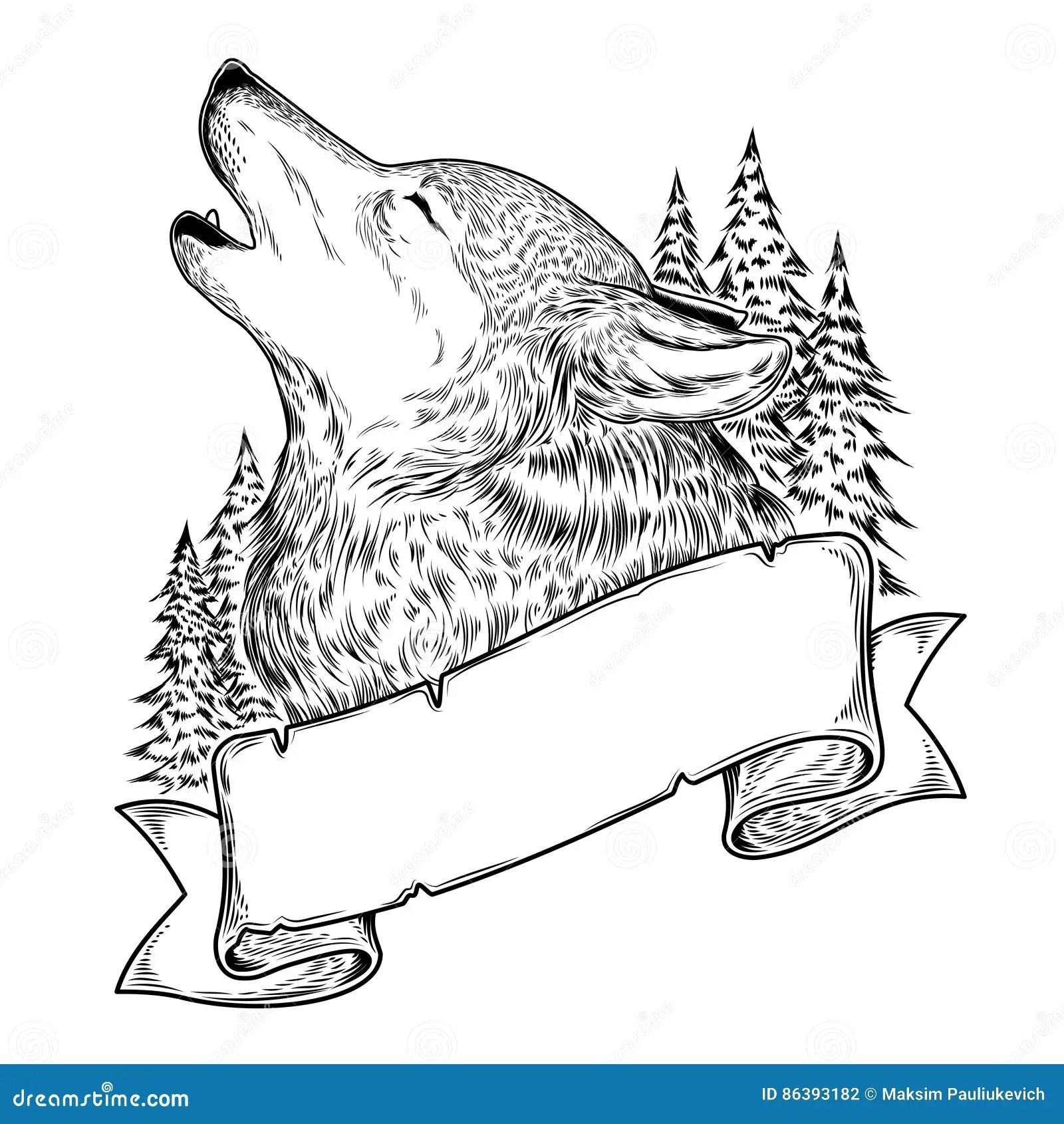 Illustratie Van Een Huilende Wolf Met Lint Stock