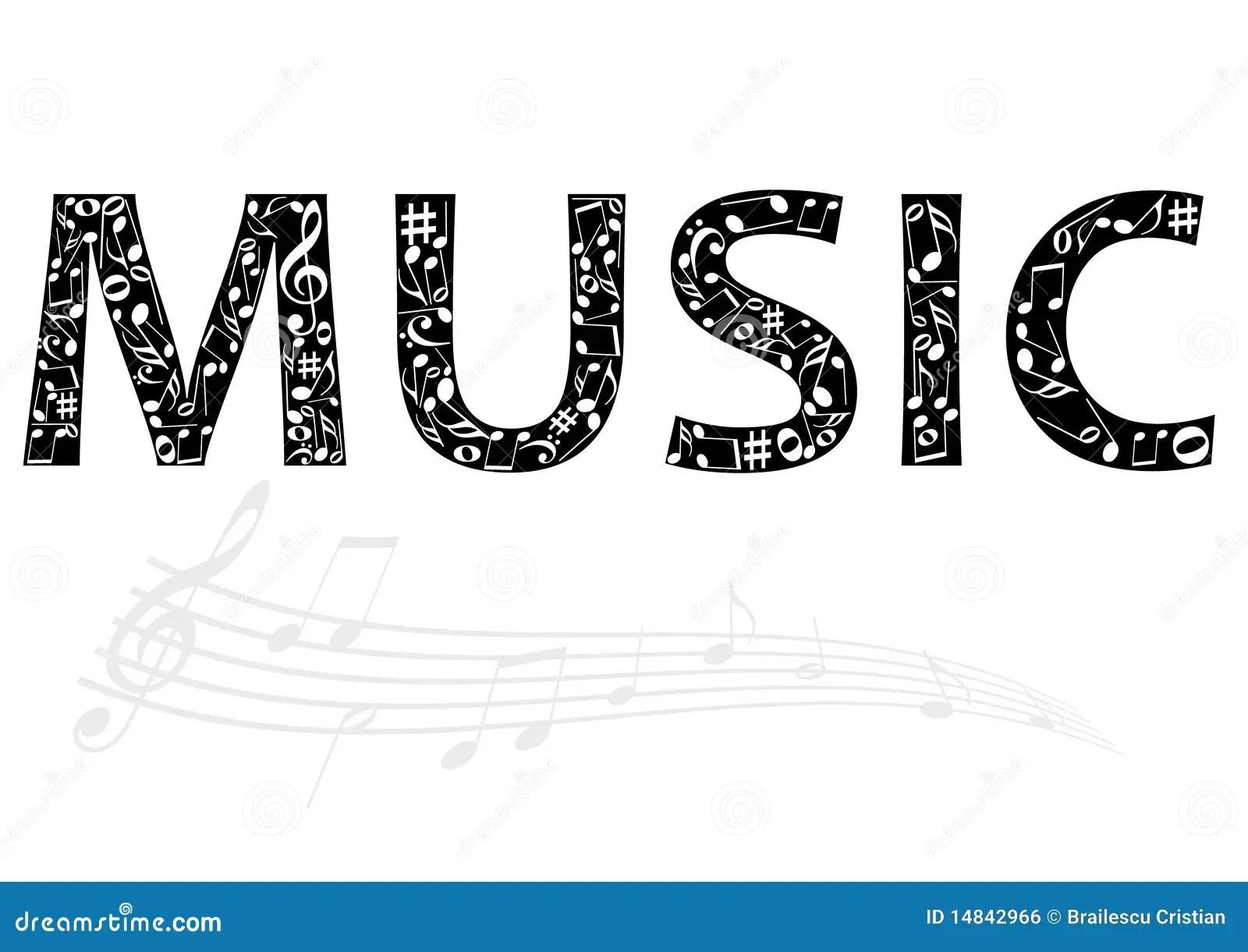 Illustration Abstraite Du Mot De Musique Avec La Musique Illustration De Vecteur