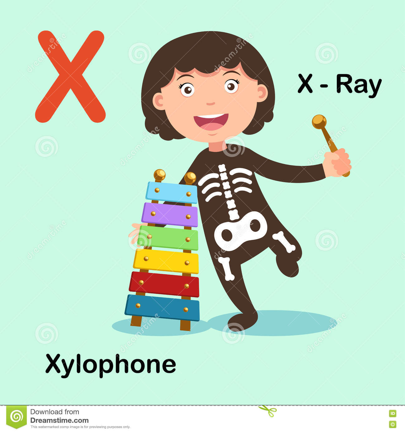 Illustration Alphabet Letter X X Ray Xylophone Stock