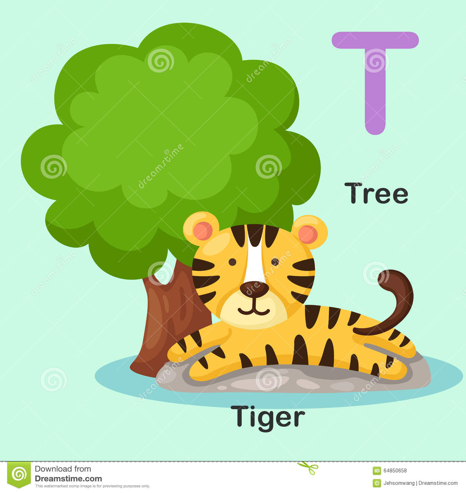 Illustration Animal Alphabet Letter T Tree Tiger Stock