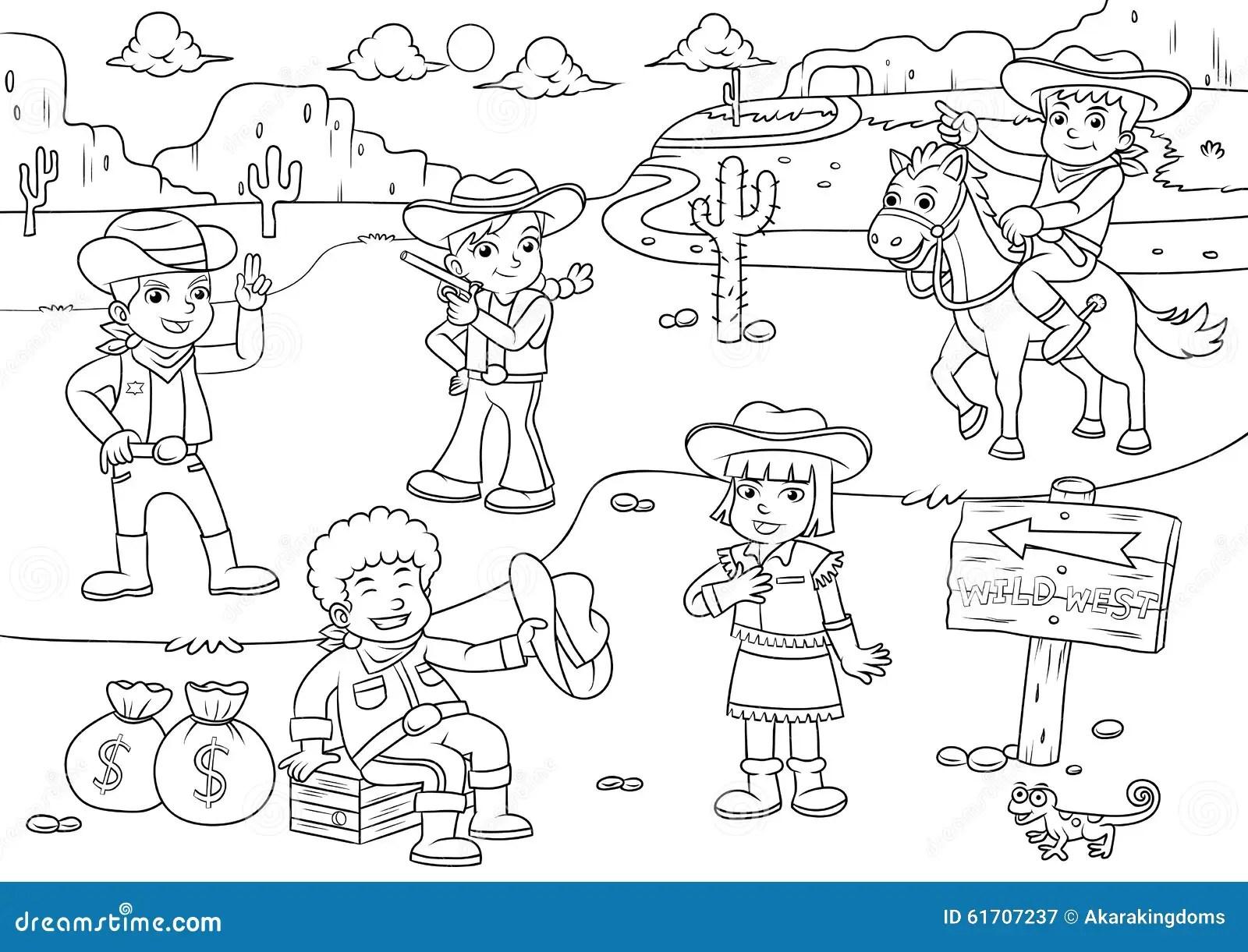 Illustration Av Tecknade Filmen For Cowboywild West Barn