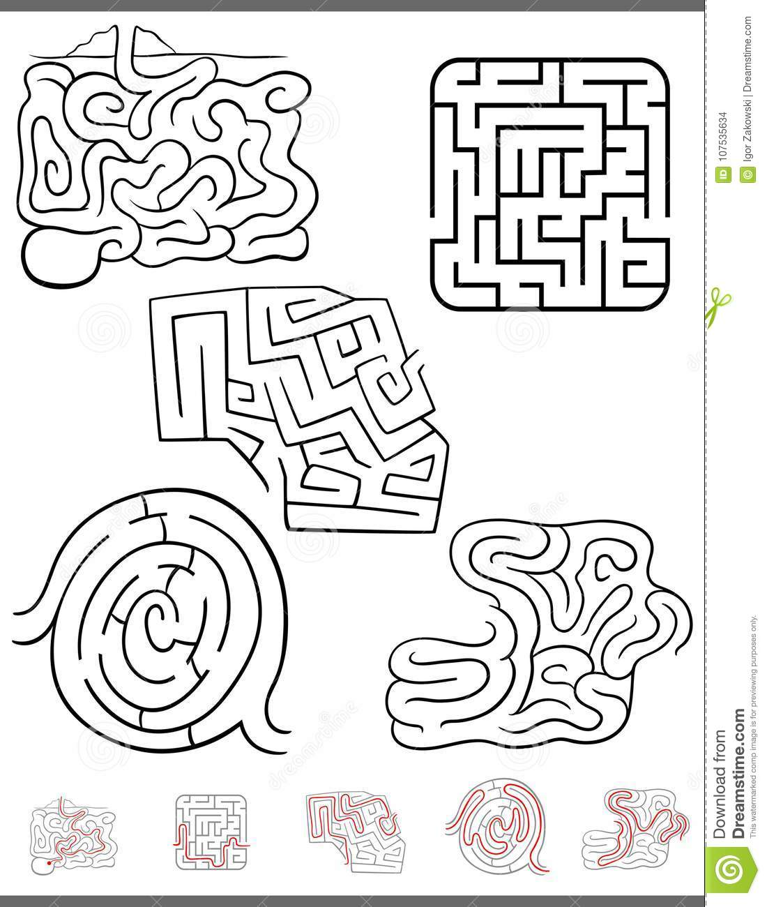 Maze Leisure Game Set With Solutions Stock Vector