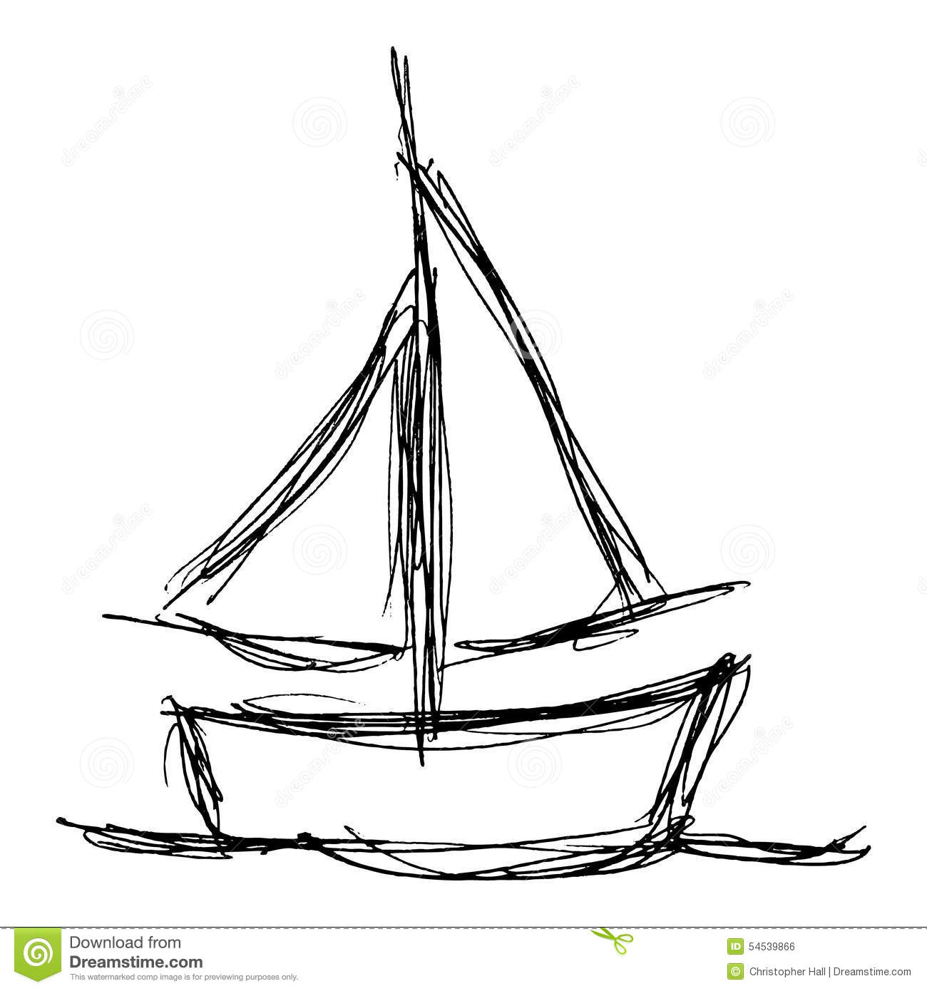 Illustration Of A Boat With Sails Stock Vector