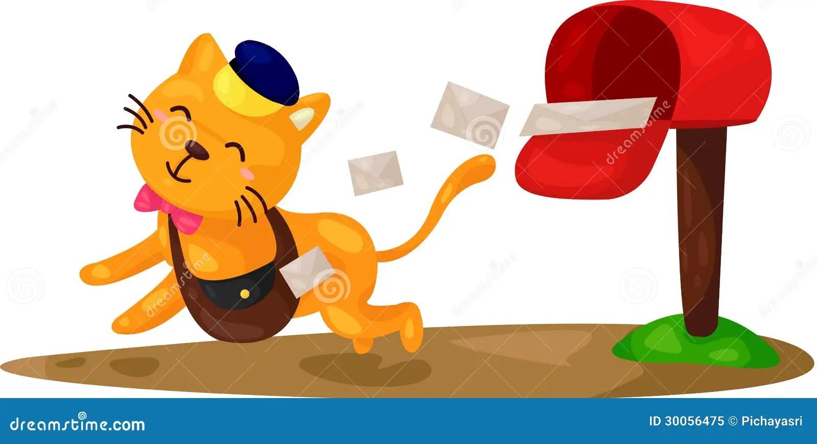 Cartoon Cat Postman Royalty Free Stock Photo