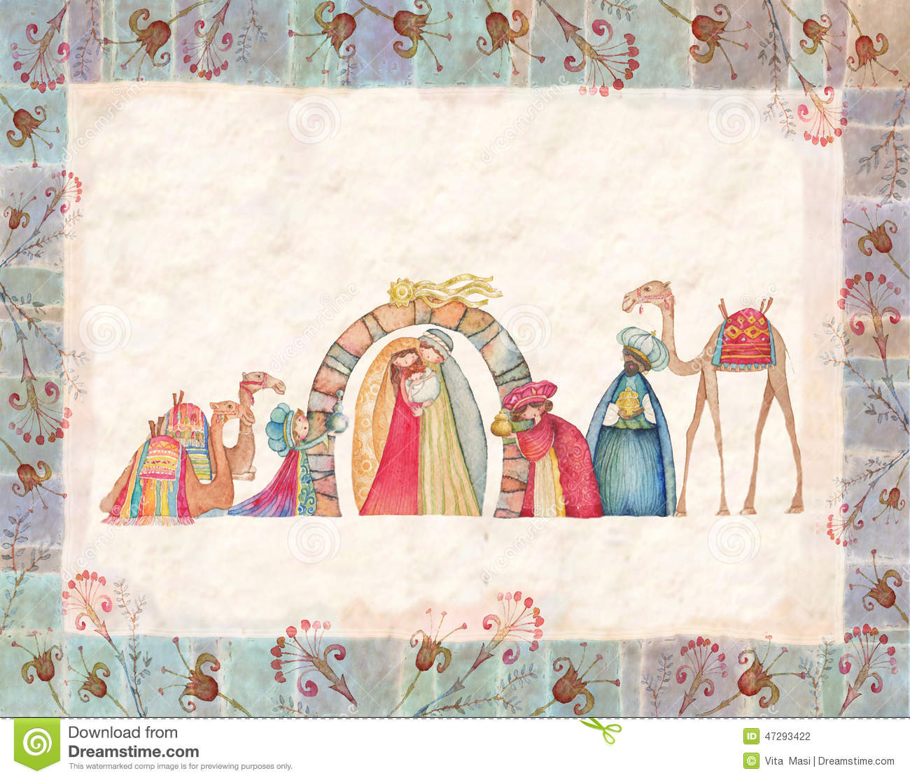 Illustration Of Christian Christmas Nativity Scene With