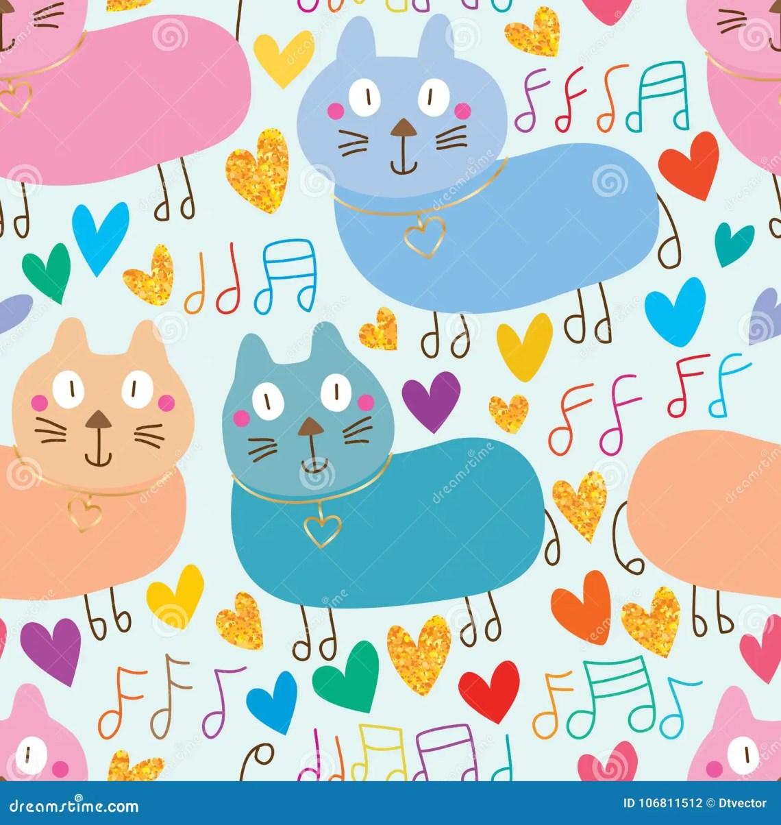Download Cat Cute Music Note Walk Gold Glitter Seamless Pattern ...