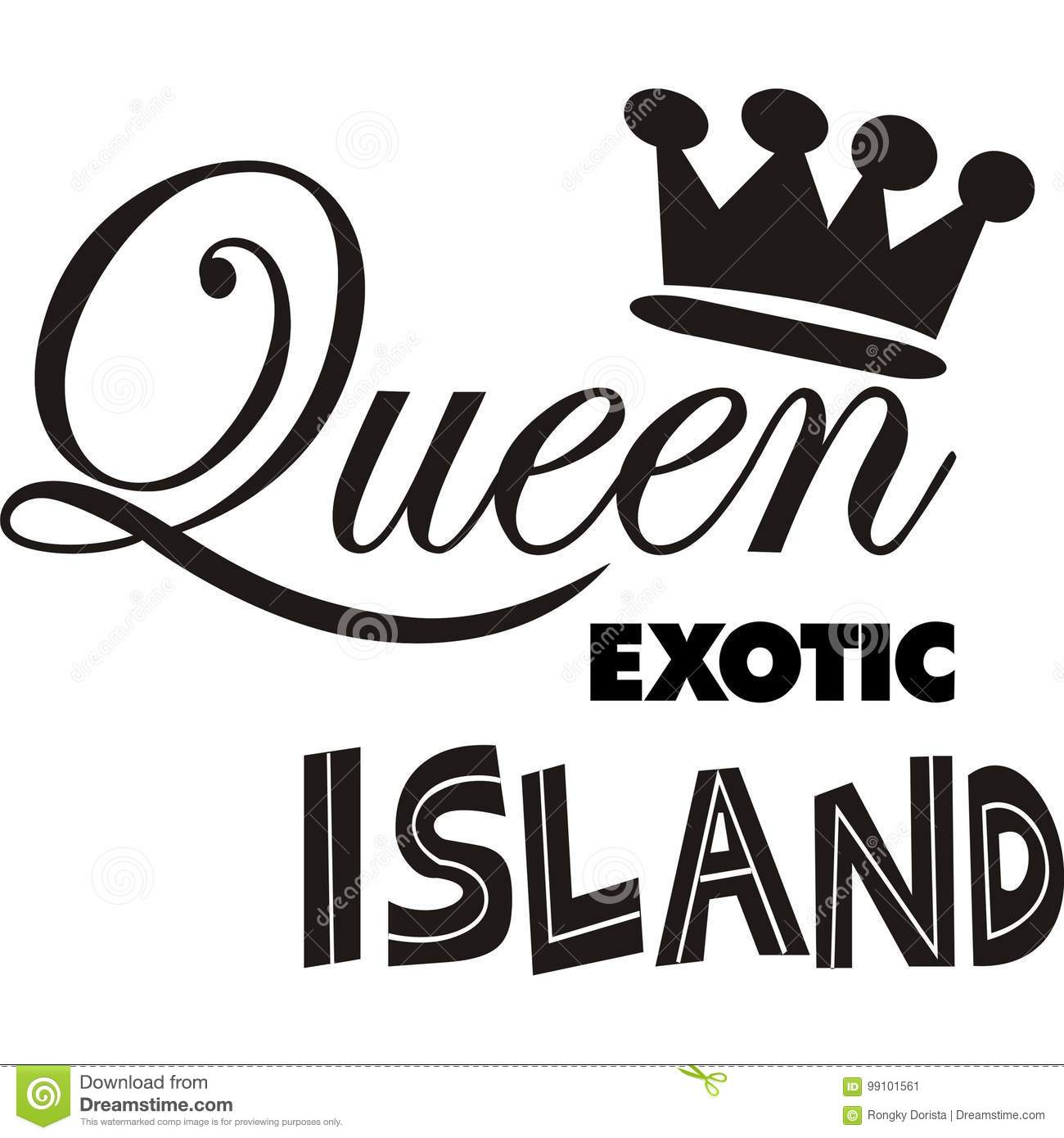Illustration Design Queen Exotic Island Vector Sillhoutte