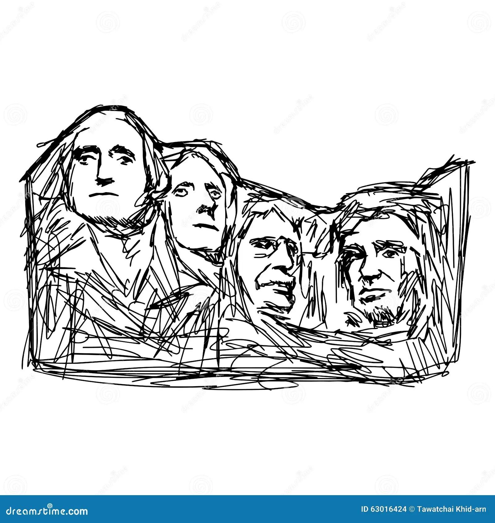 Illustration Doodle Mount Rushmore Stock Illustration