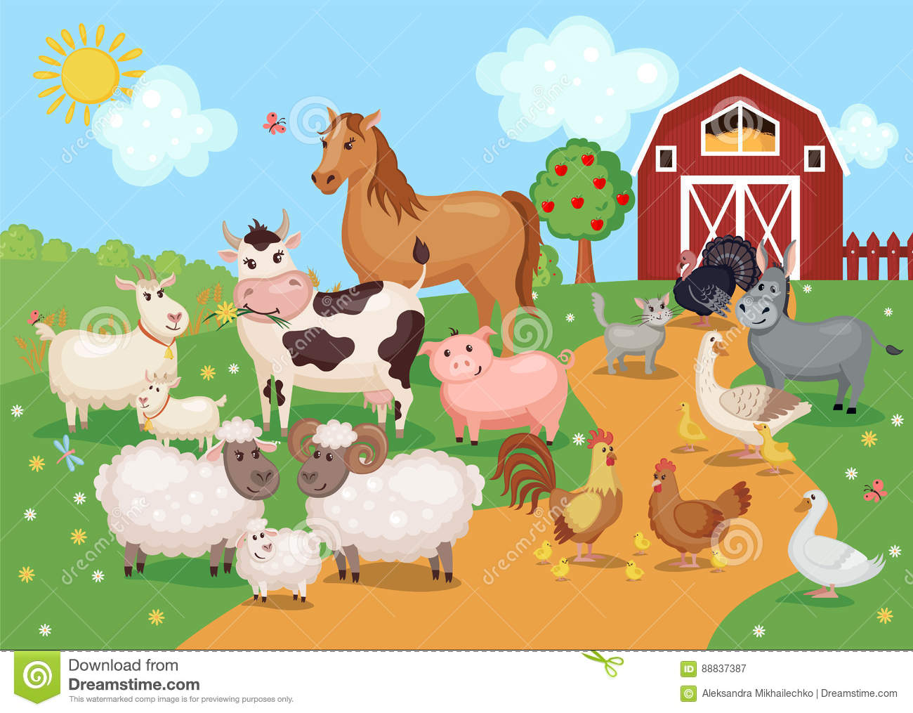 Illustration With Farm Animals And Birds Stock Vector