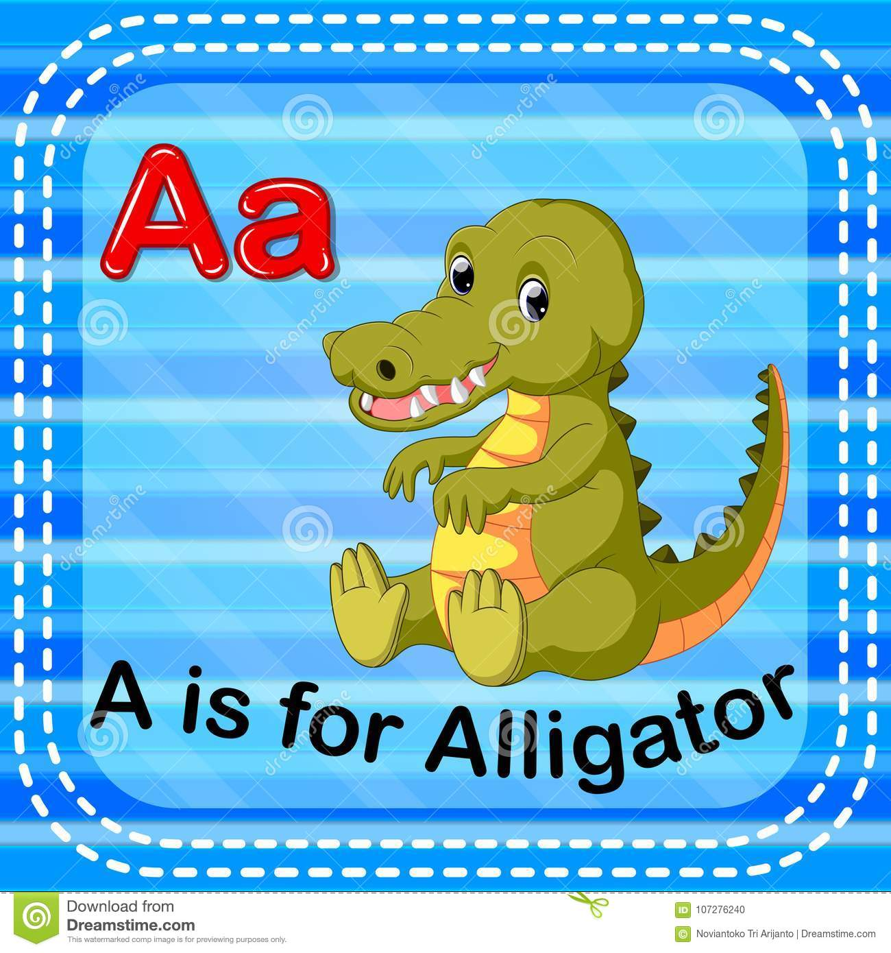 Flashcard Letter A Is For Alligator Stock Vector