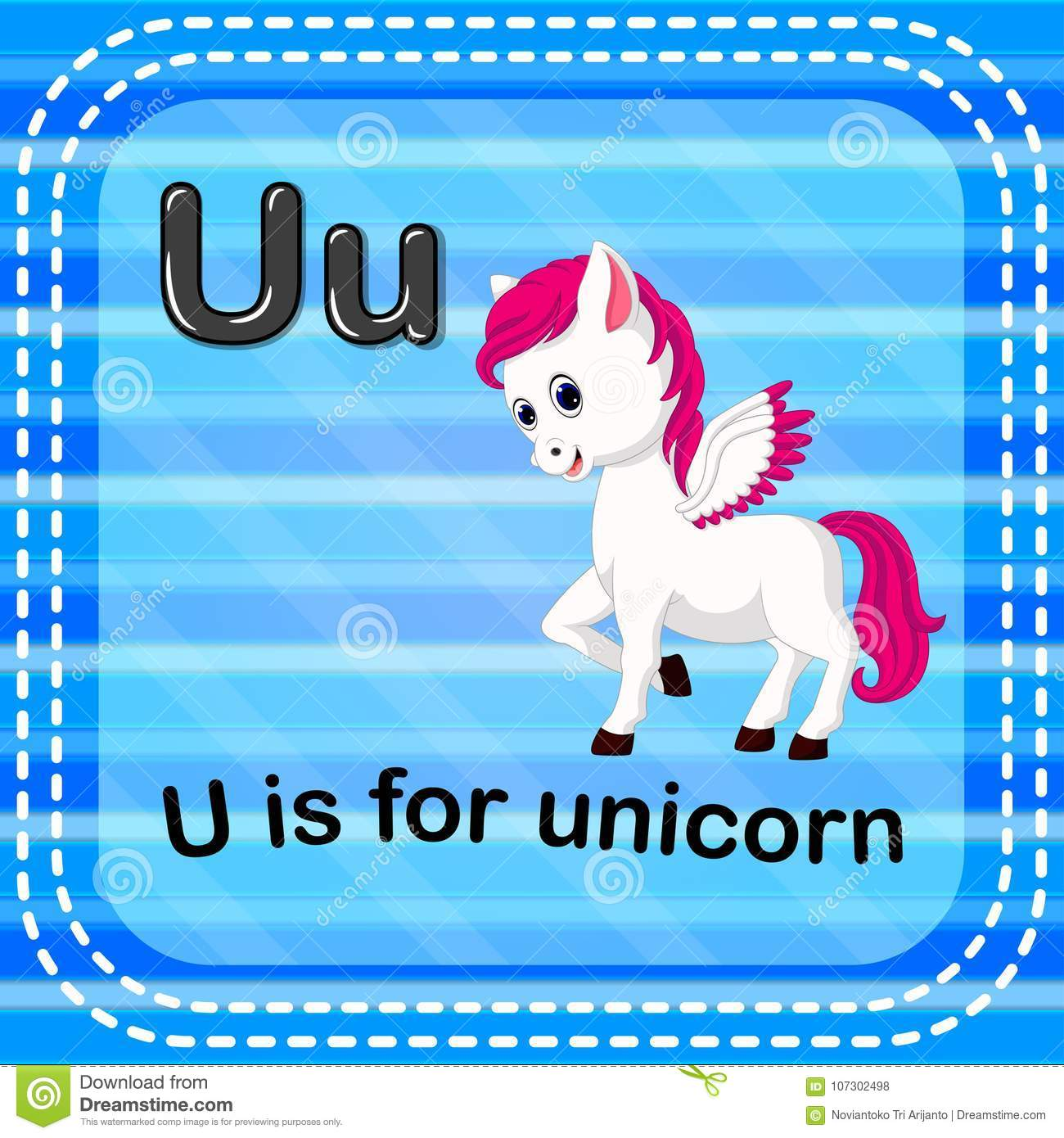 Flashcard Letter U Is For Unicorn Stock Vector