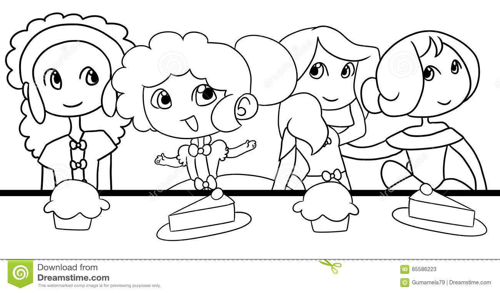 Two Princesses Having Tea Coloring Sheet Royalty Free Cartoon