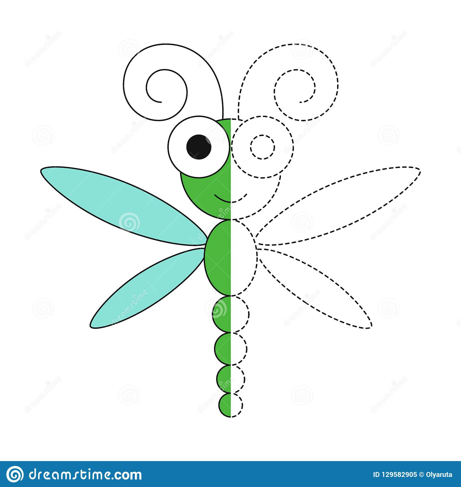 Illustration Of Funny Dragonfly For Toddlers Stock Vector