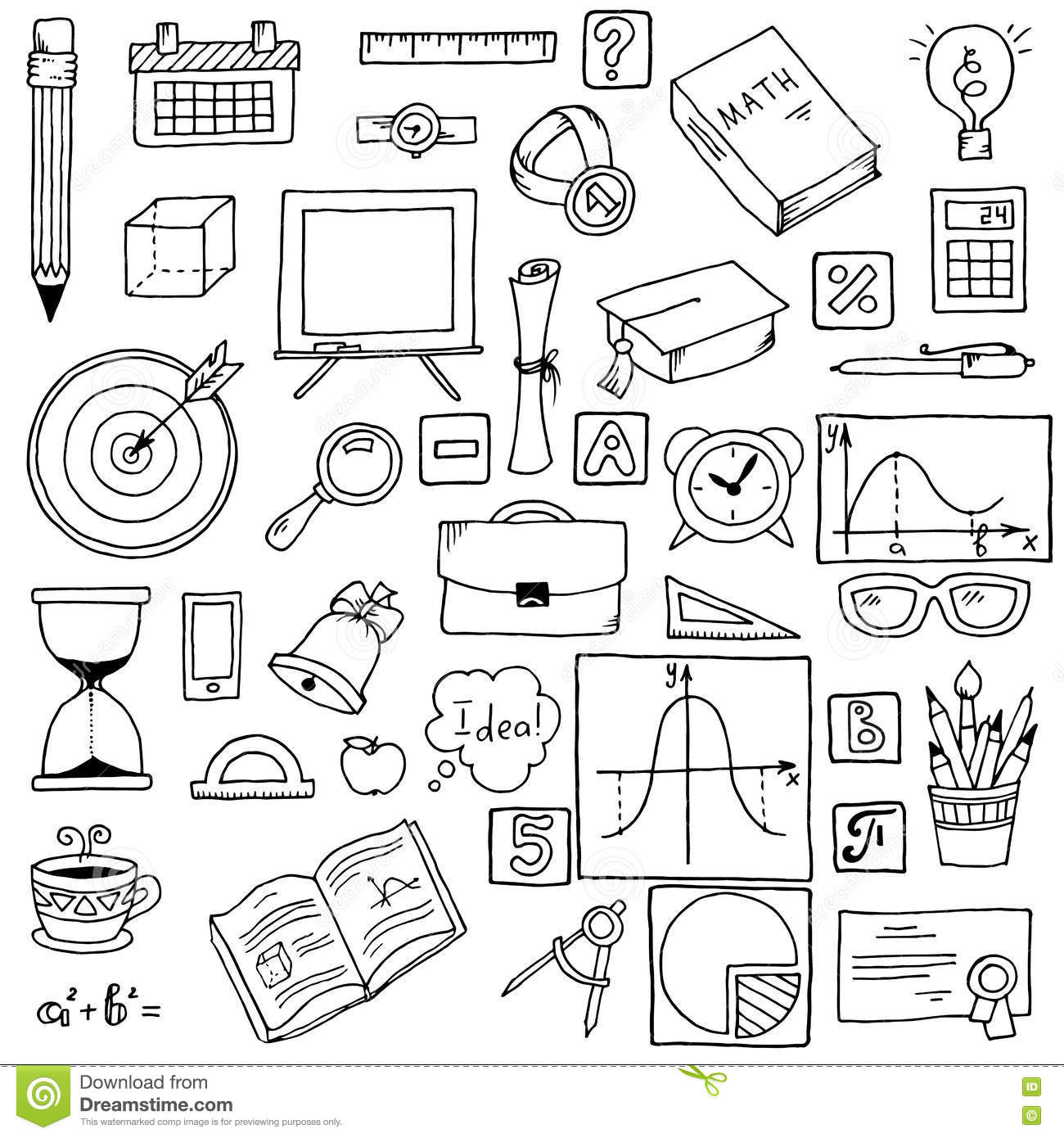 Illustration Of Icons On A Mathematics Theme Stock Vector
