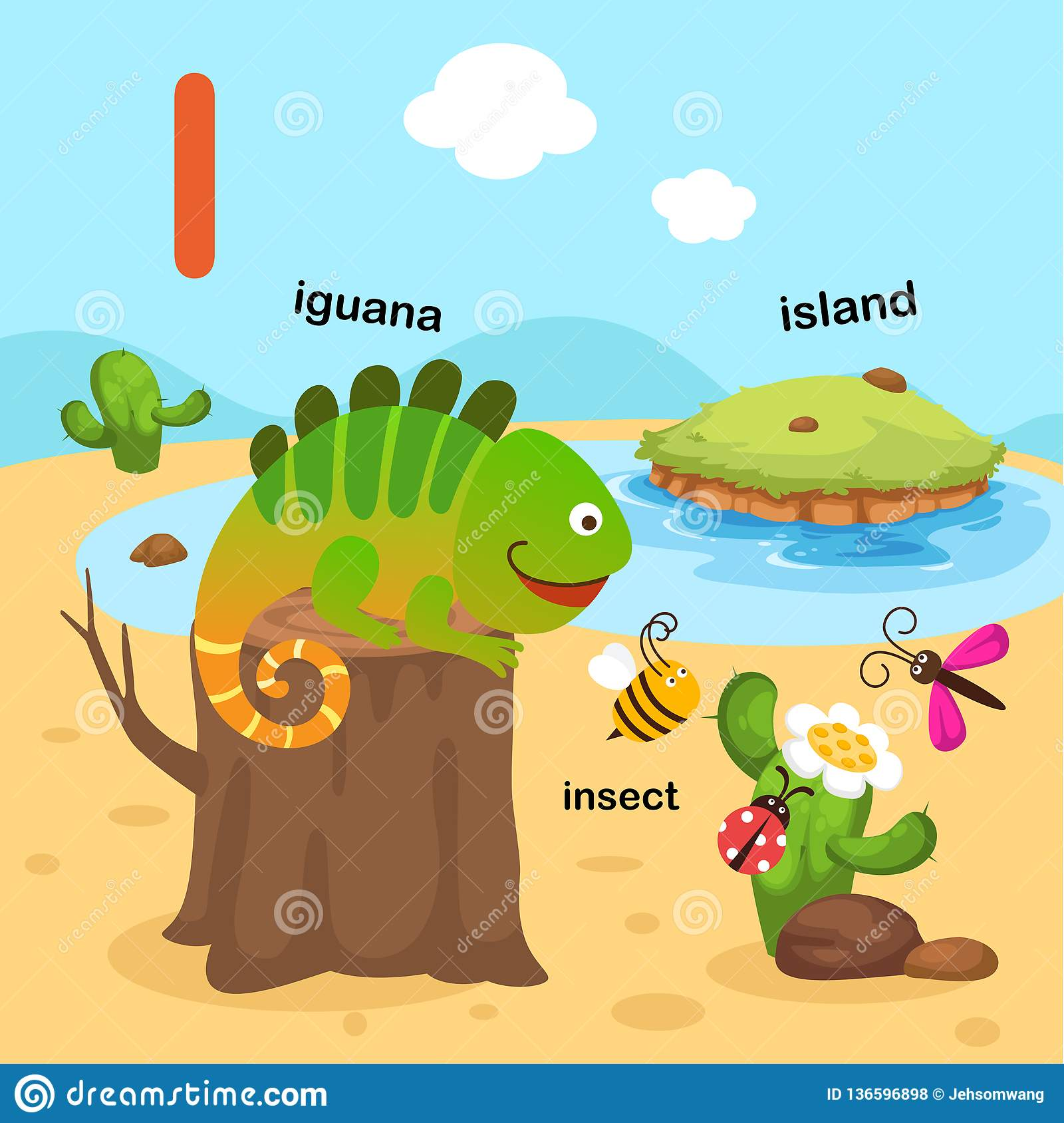 Illustration Isolated Alphabet Letter I Iguana Insect