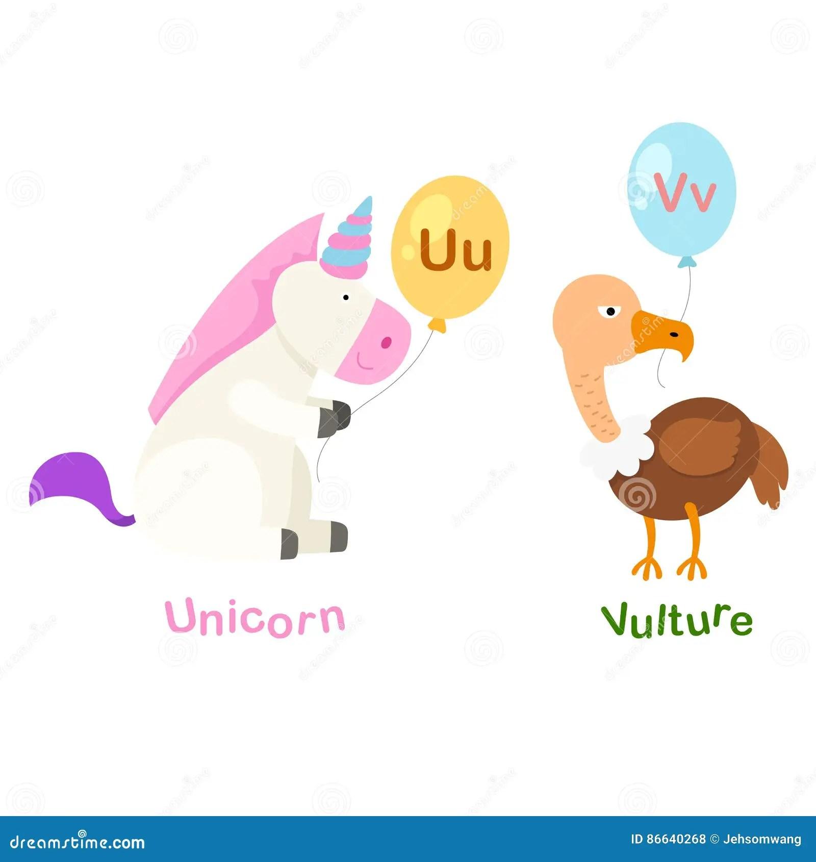 Illustration Isolated Alphabet Letter U Unicorn V Vulture
