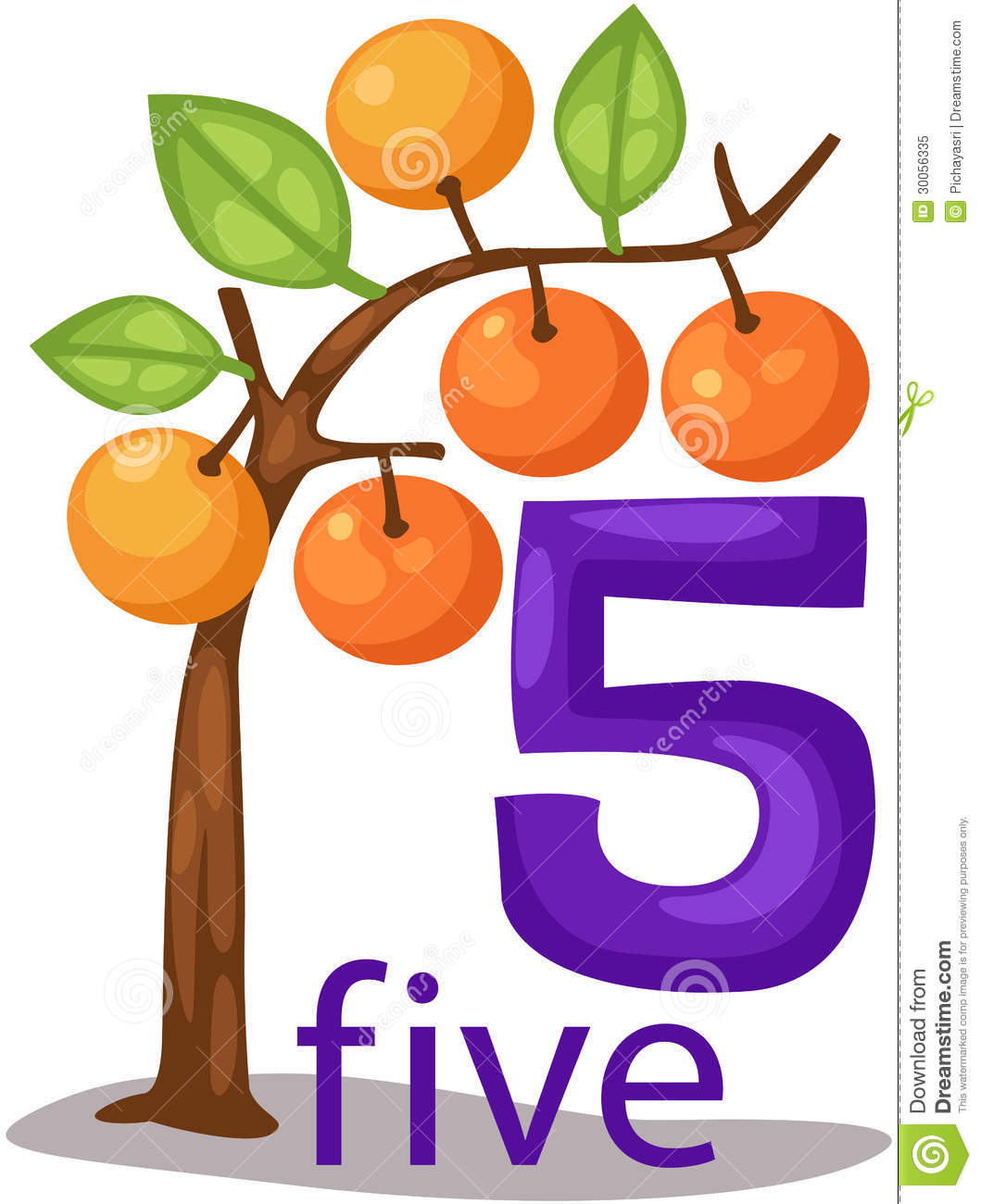 Number 5 Character With Orange Tree Stock Vector