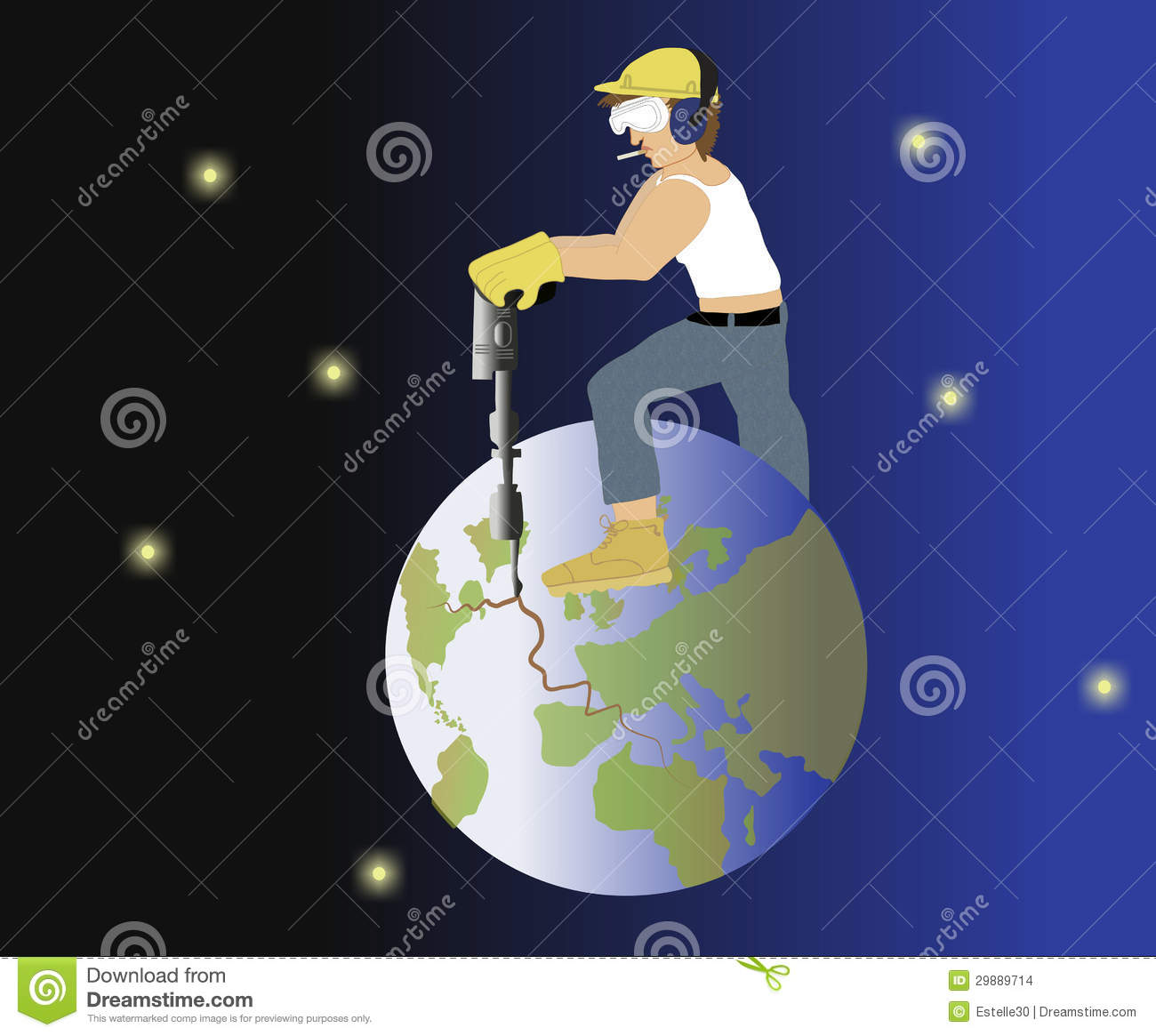 Man Drilling Into Earth Stock Images