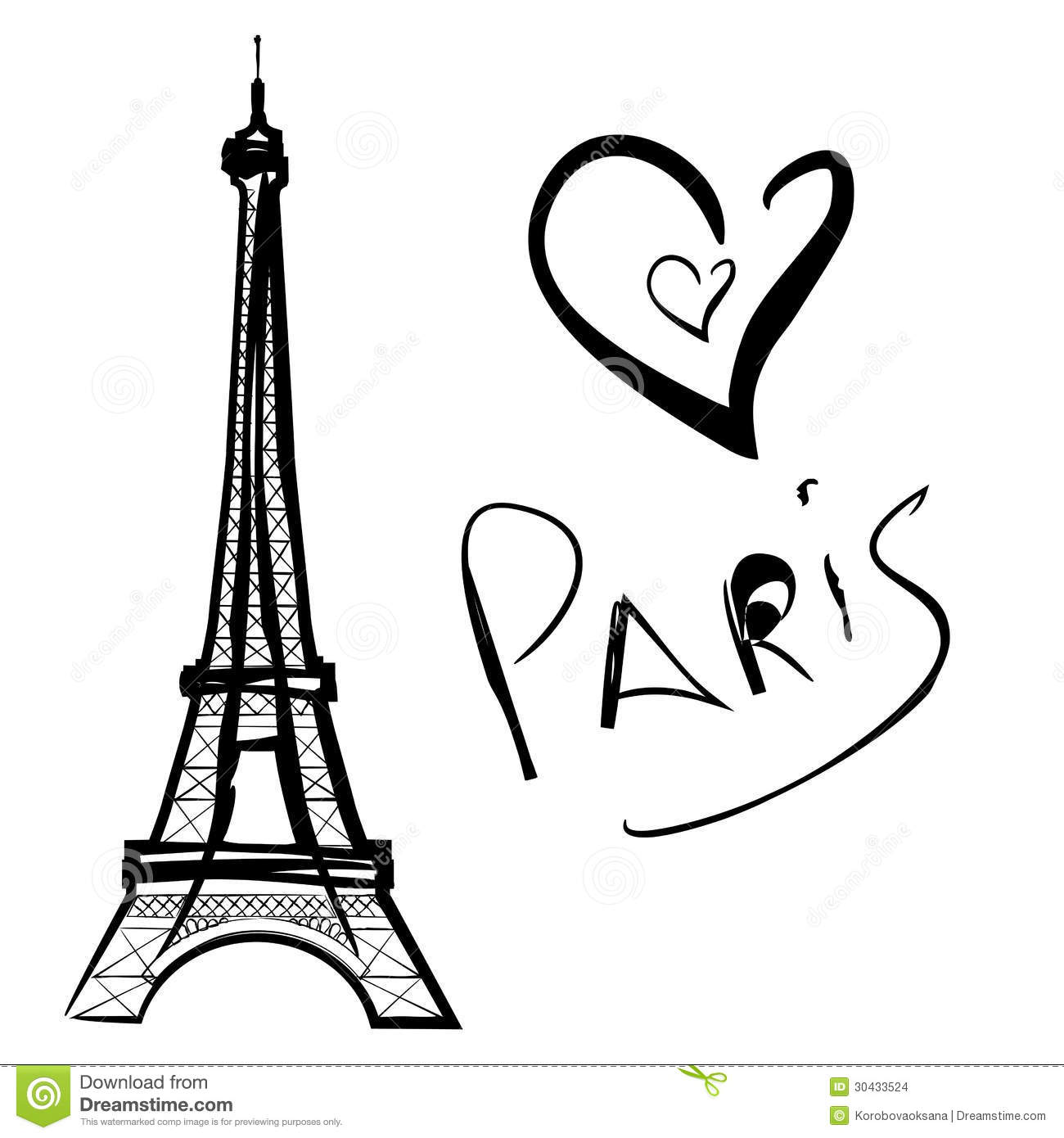Illustration Of Paris The Eiffel Tower Stock Images