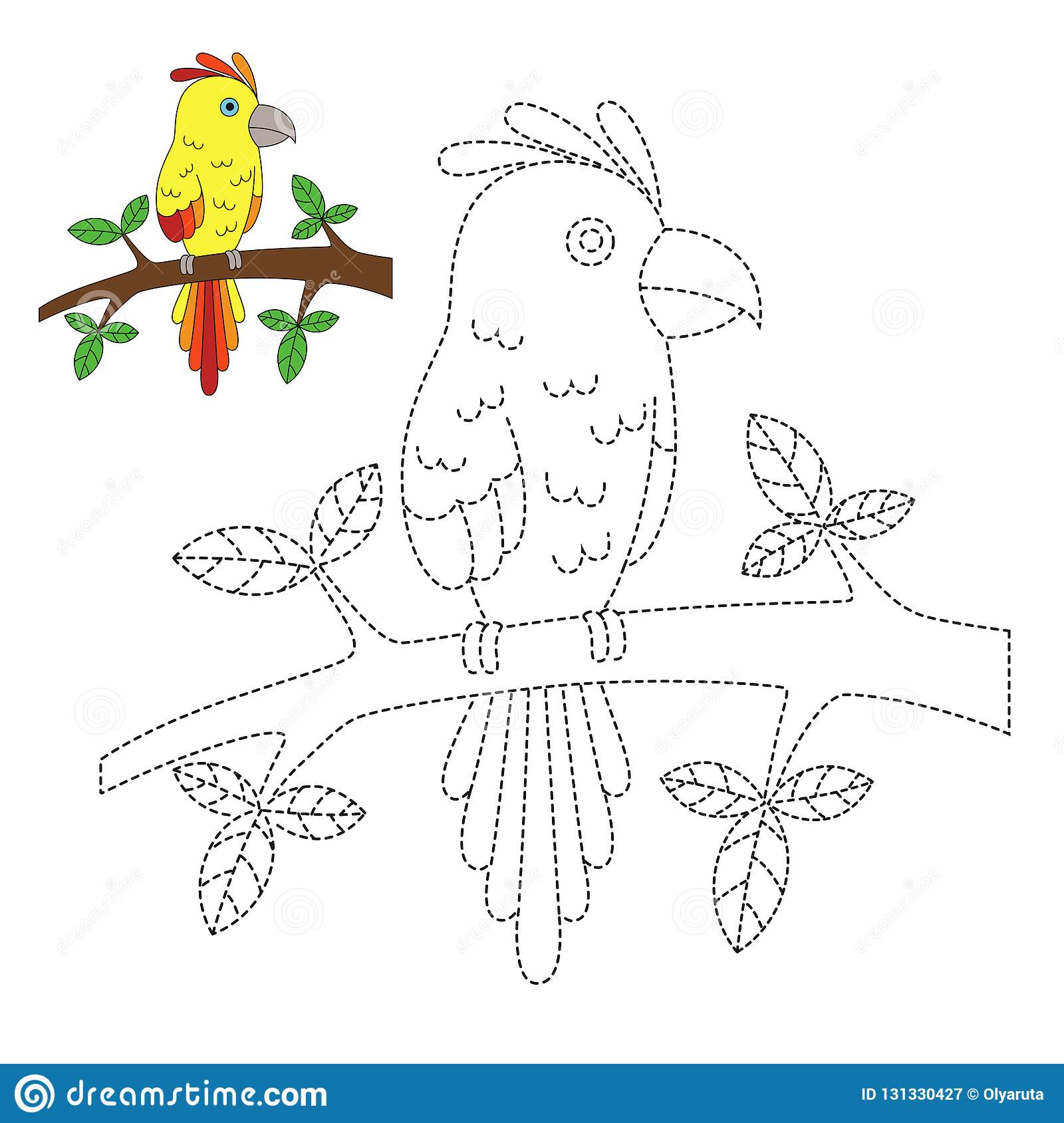 Illustration Of Parrot Sitting On Branch For Toddlers