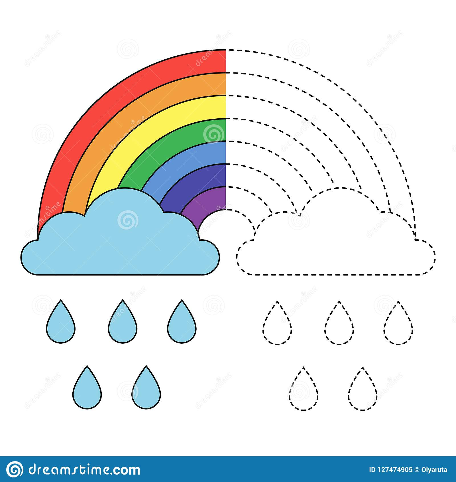 Illustration Of Rainbow Clouds And Raindrops For Toddlers Stock Vector