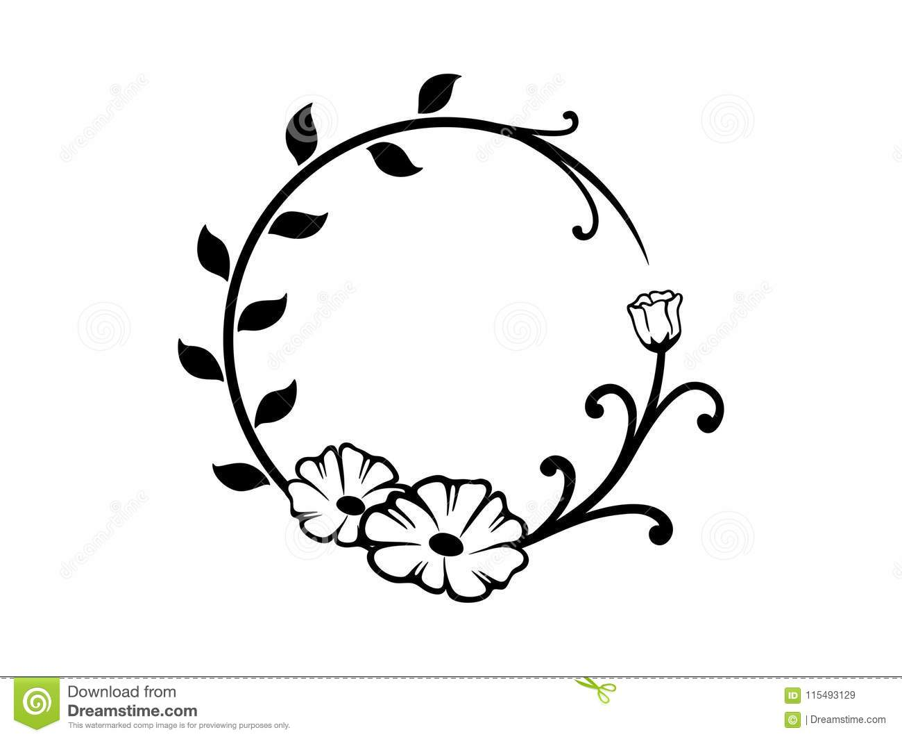 Black And White Round Floral Border Stock Vector