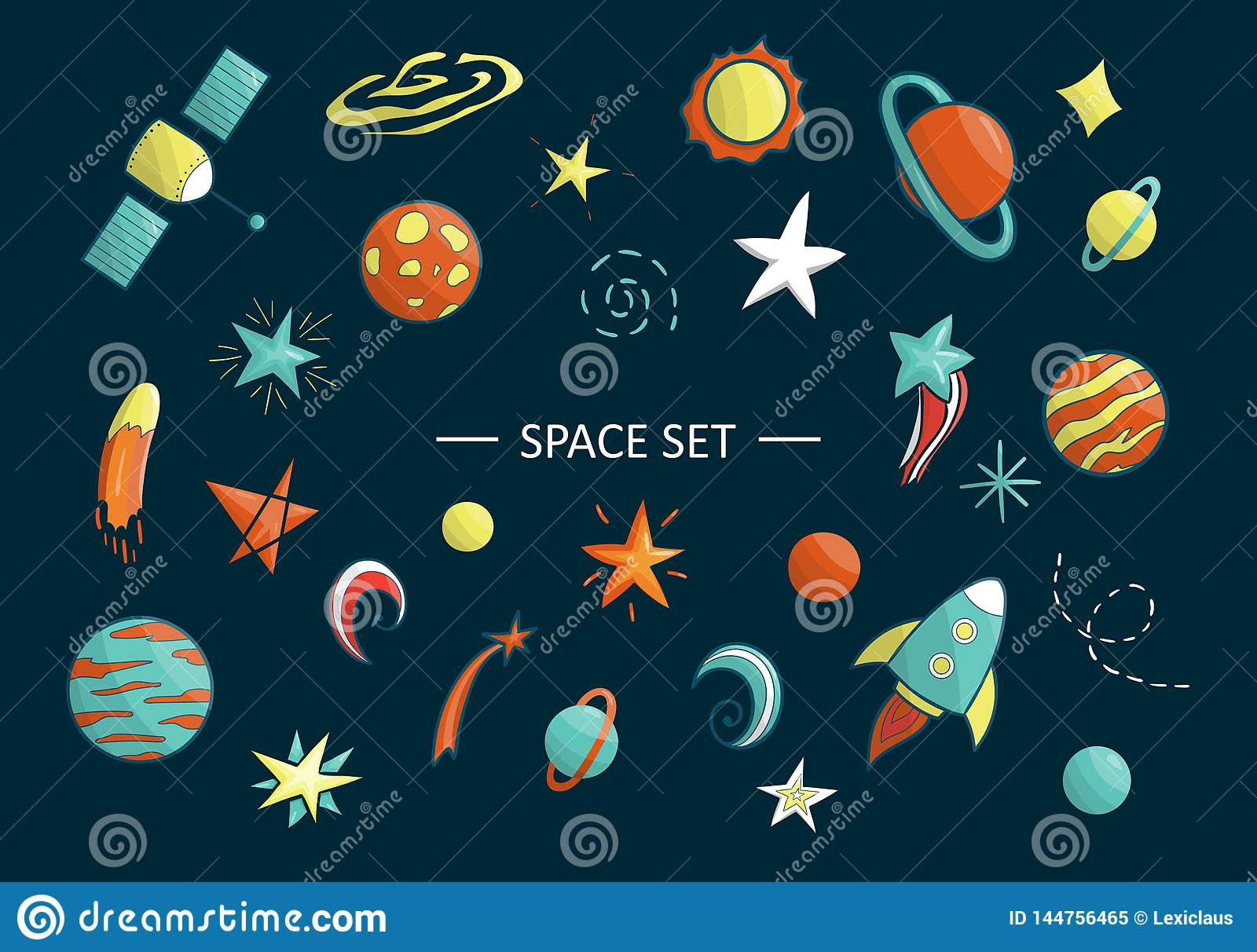Vector Set Of Space Objects Stock Illustration