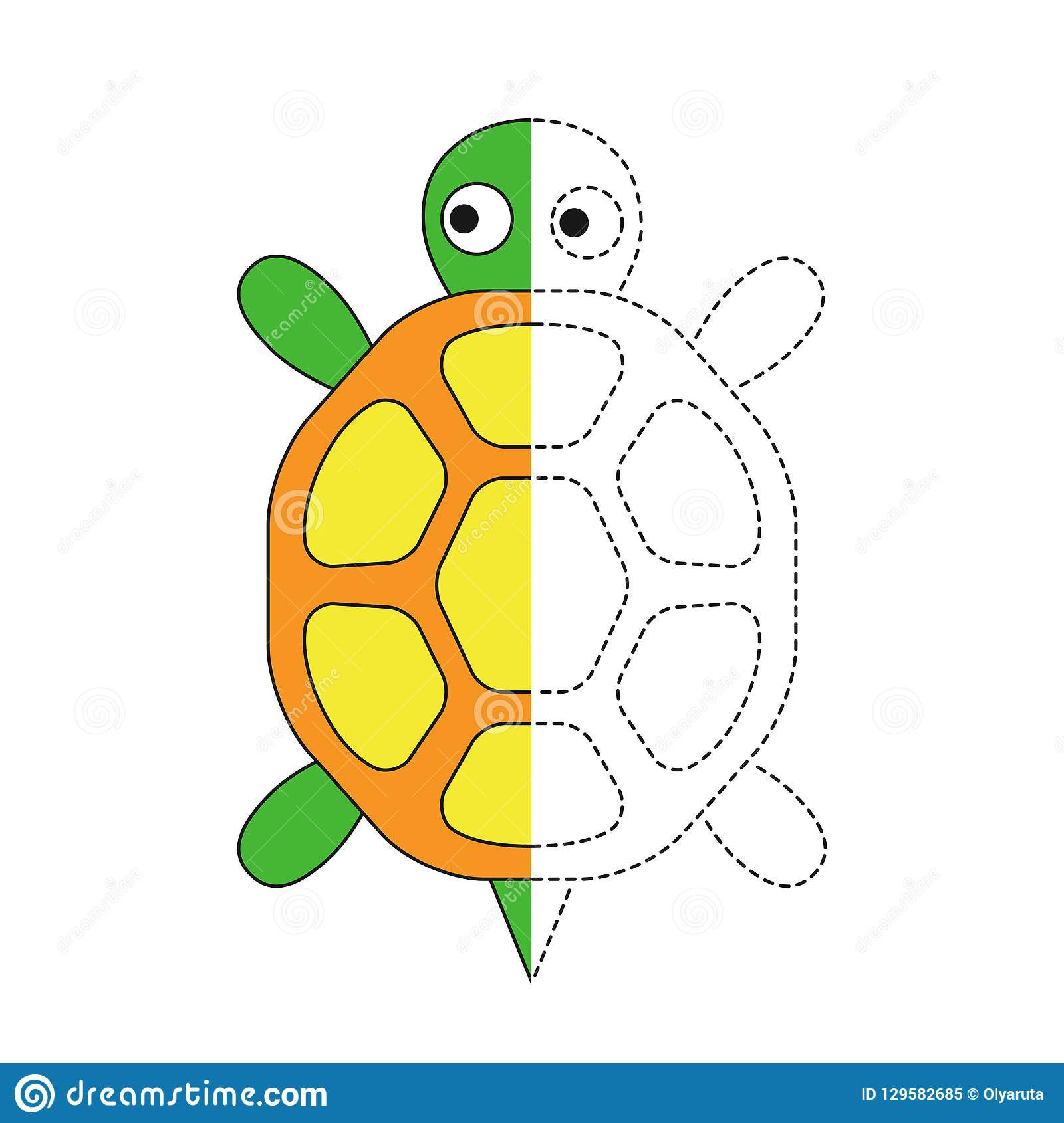 Illustration Of Turtle For Toddlers Stock Vector