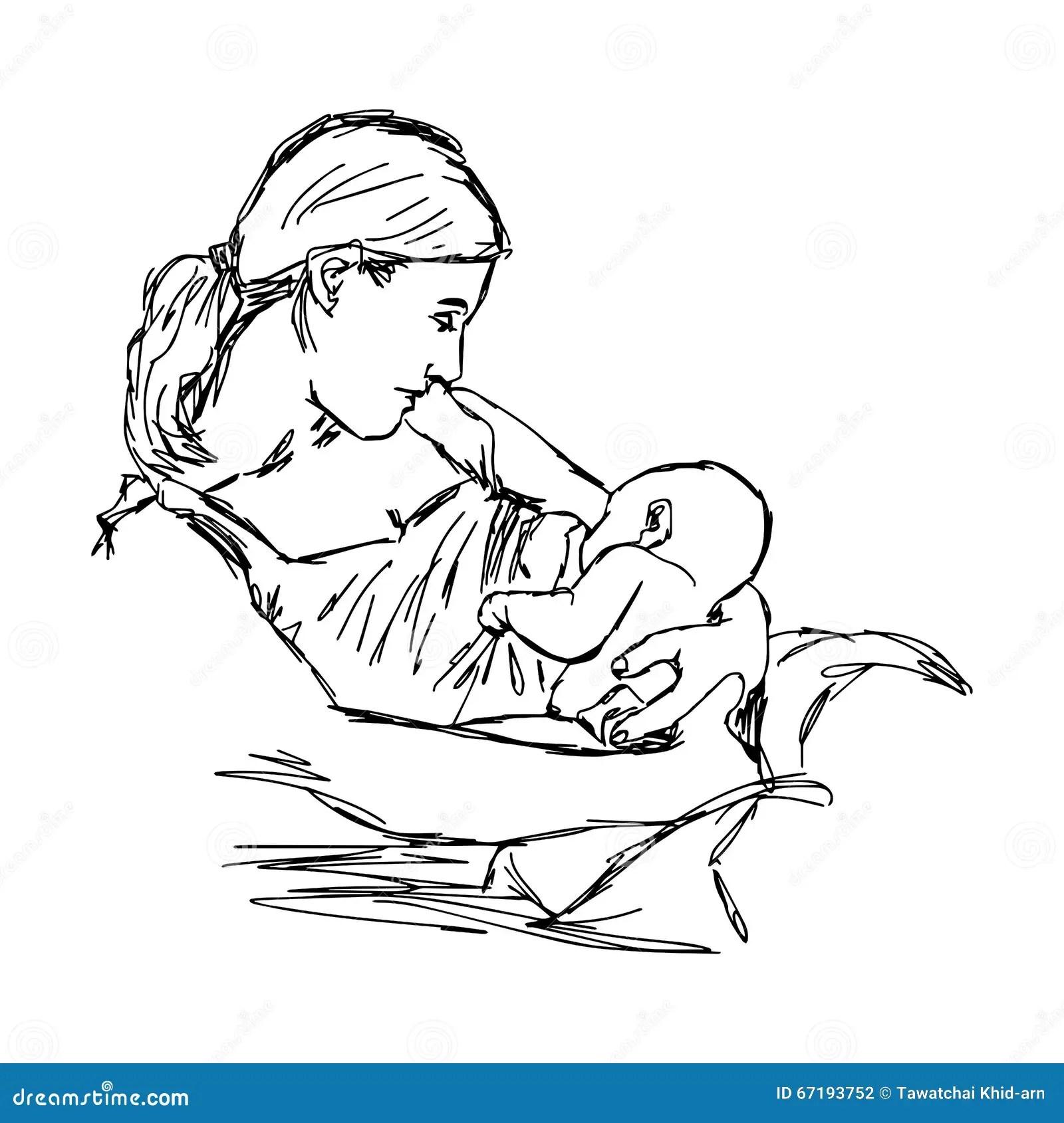 Hand Sketch Mother Nursing Baby Cartoon Vector