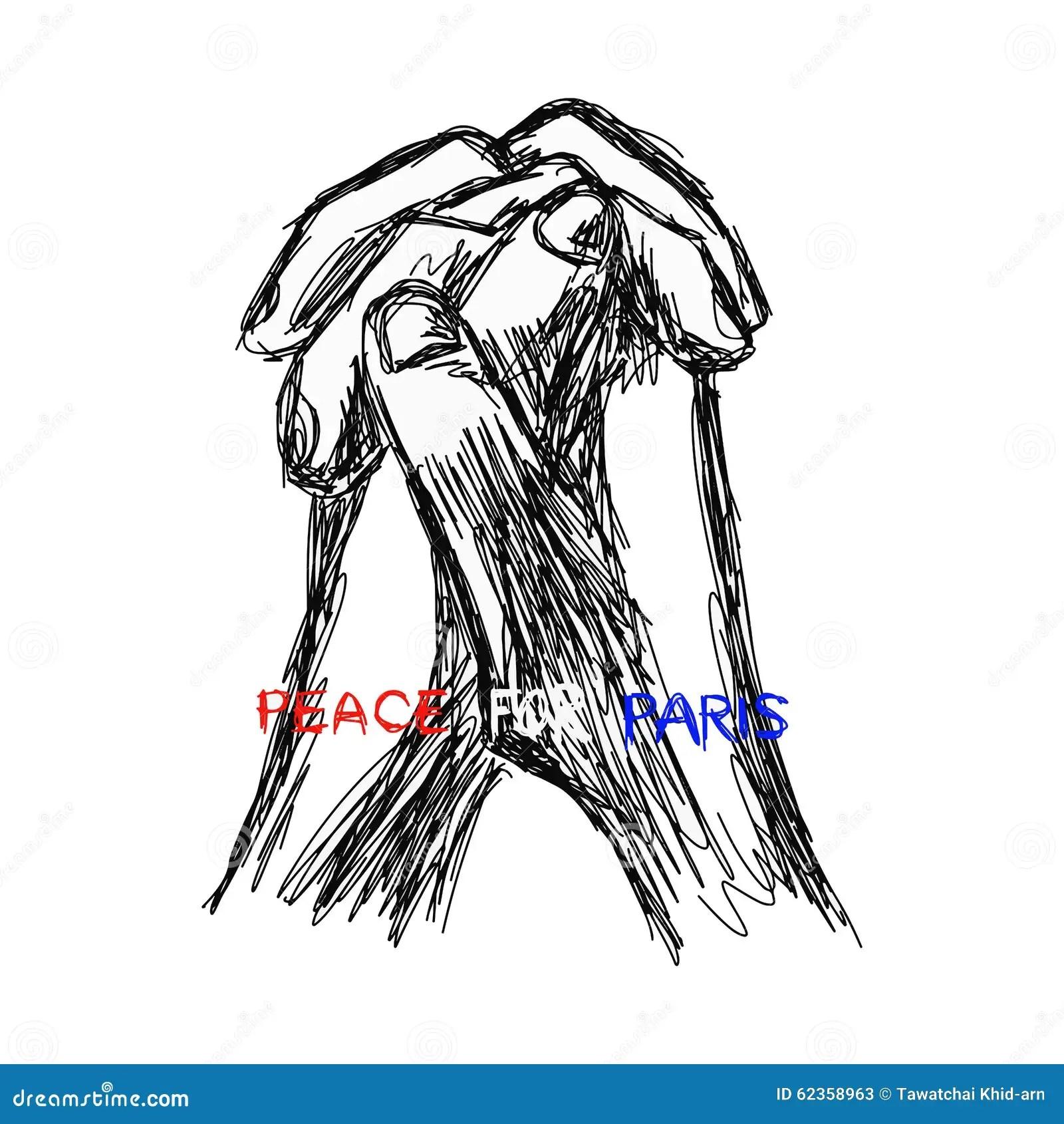 Illustration Vector Doodle Hand Drawn Of Sketch Praying
