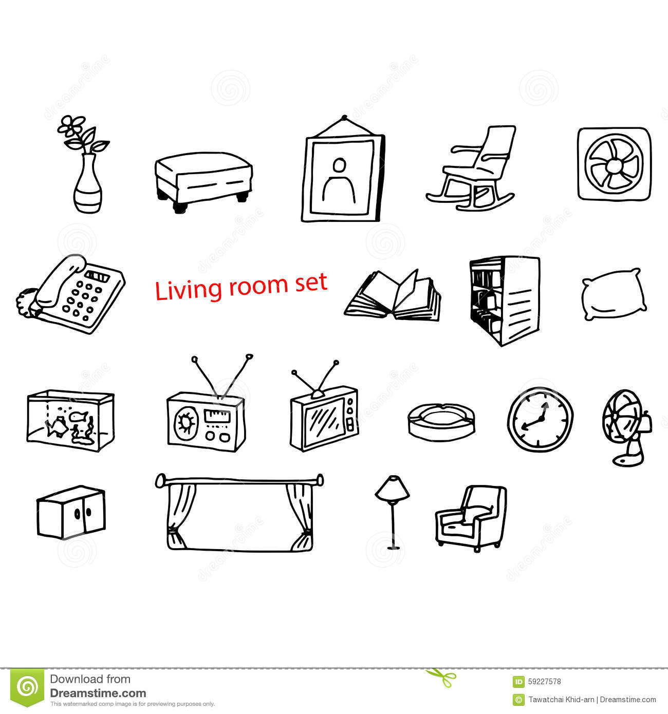 Illustration Vector Doodles Hand Drawn Objects In Living