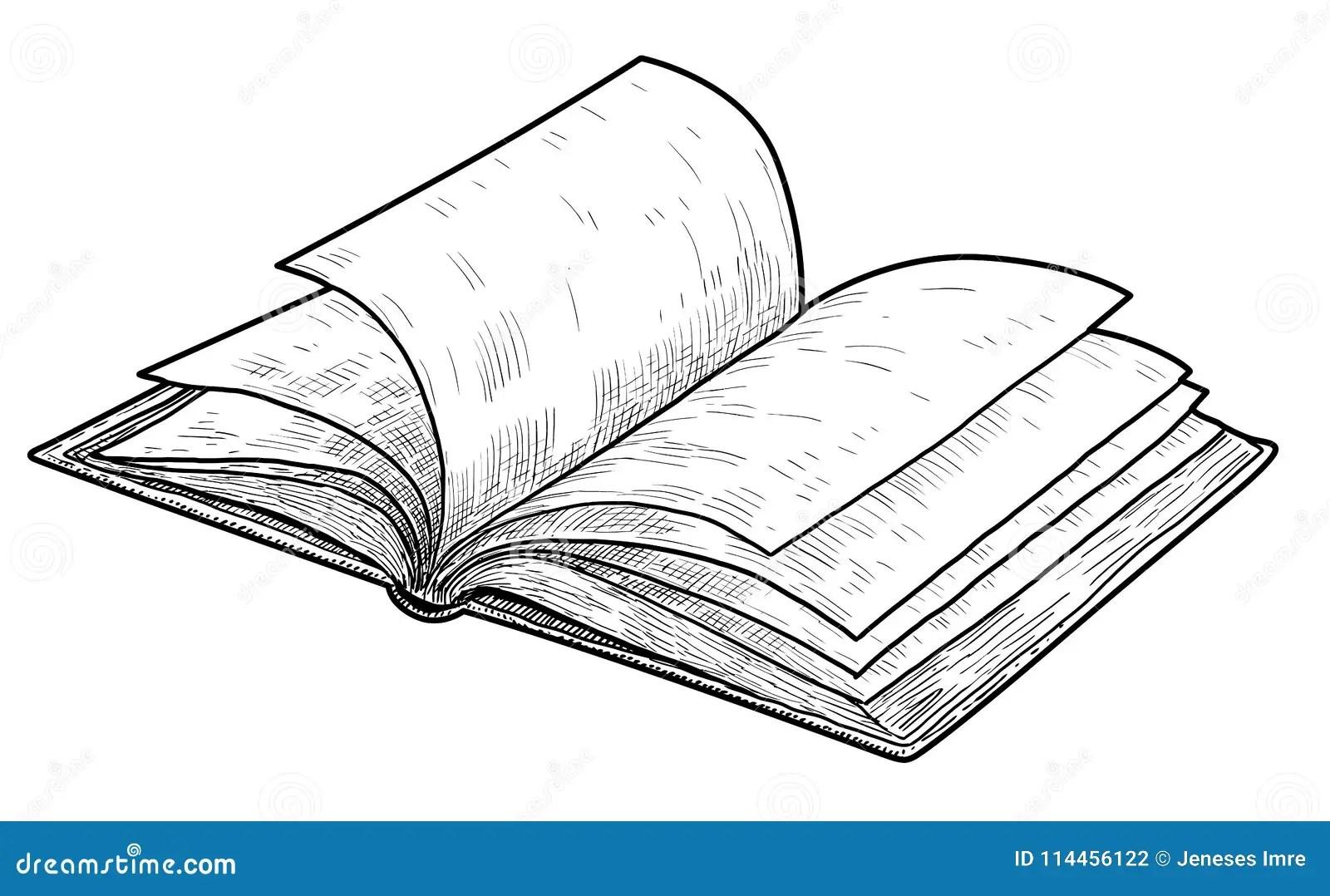 Open Book Illustration Drawing Engraving Ink Line Art