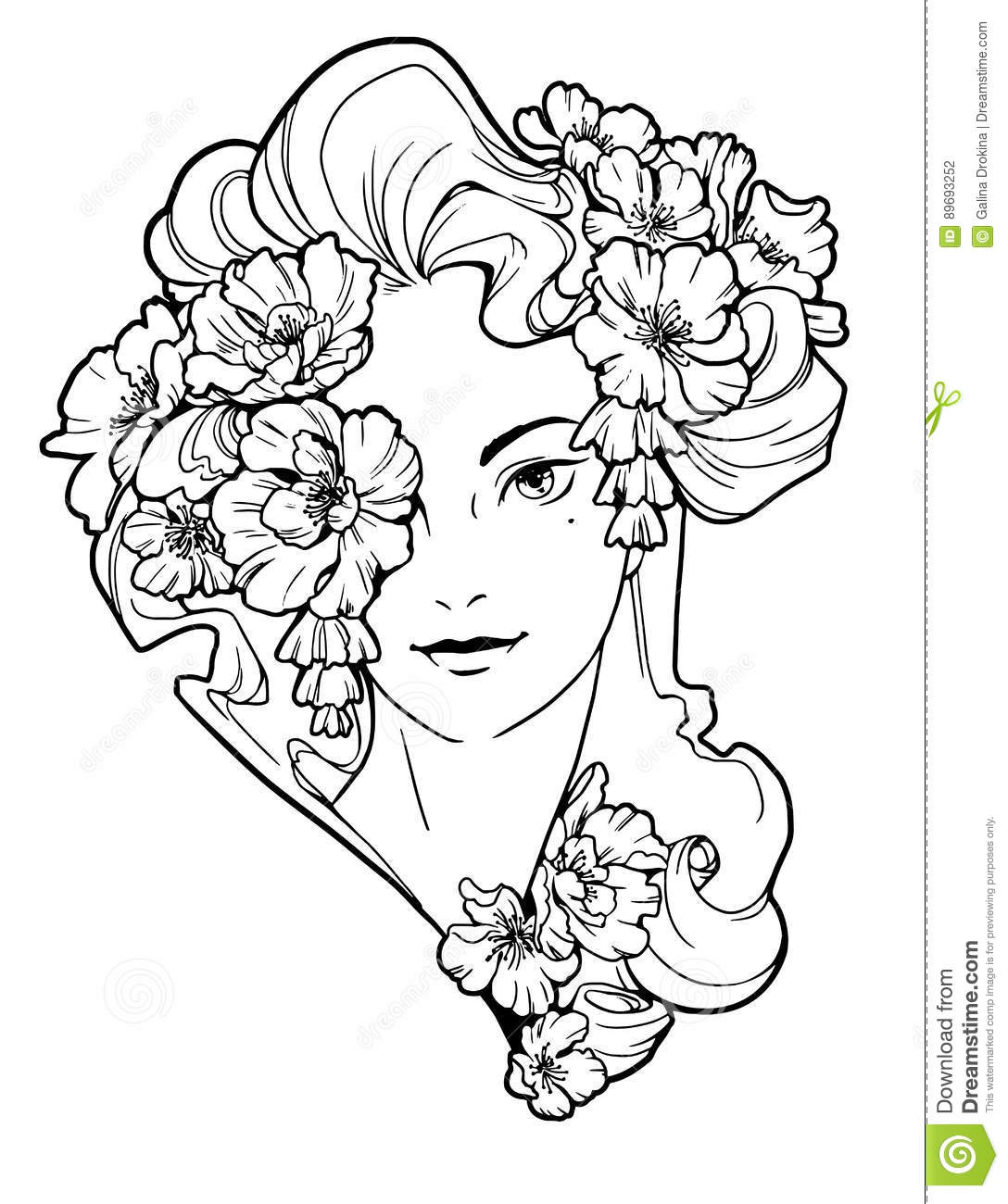Illustration Of Woman With Flowers In Her Hair Stock