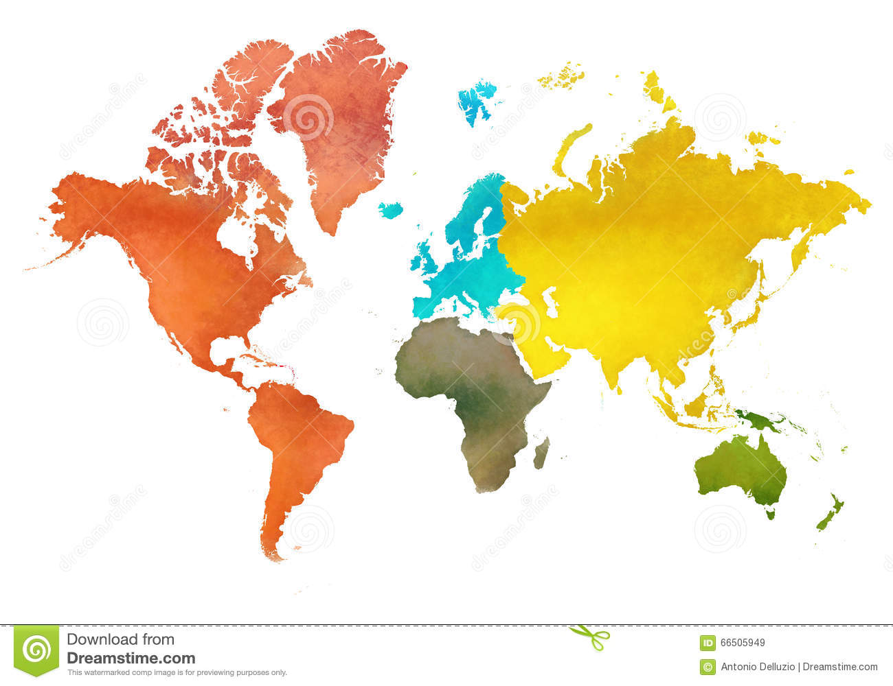 Illustration World Map And The Continents Of Planet Earth