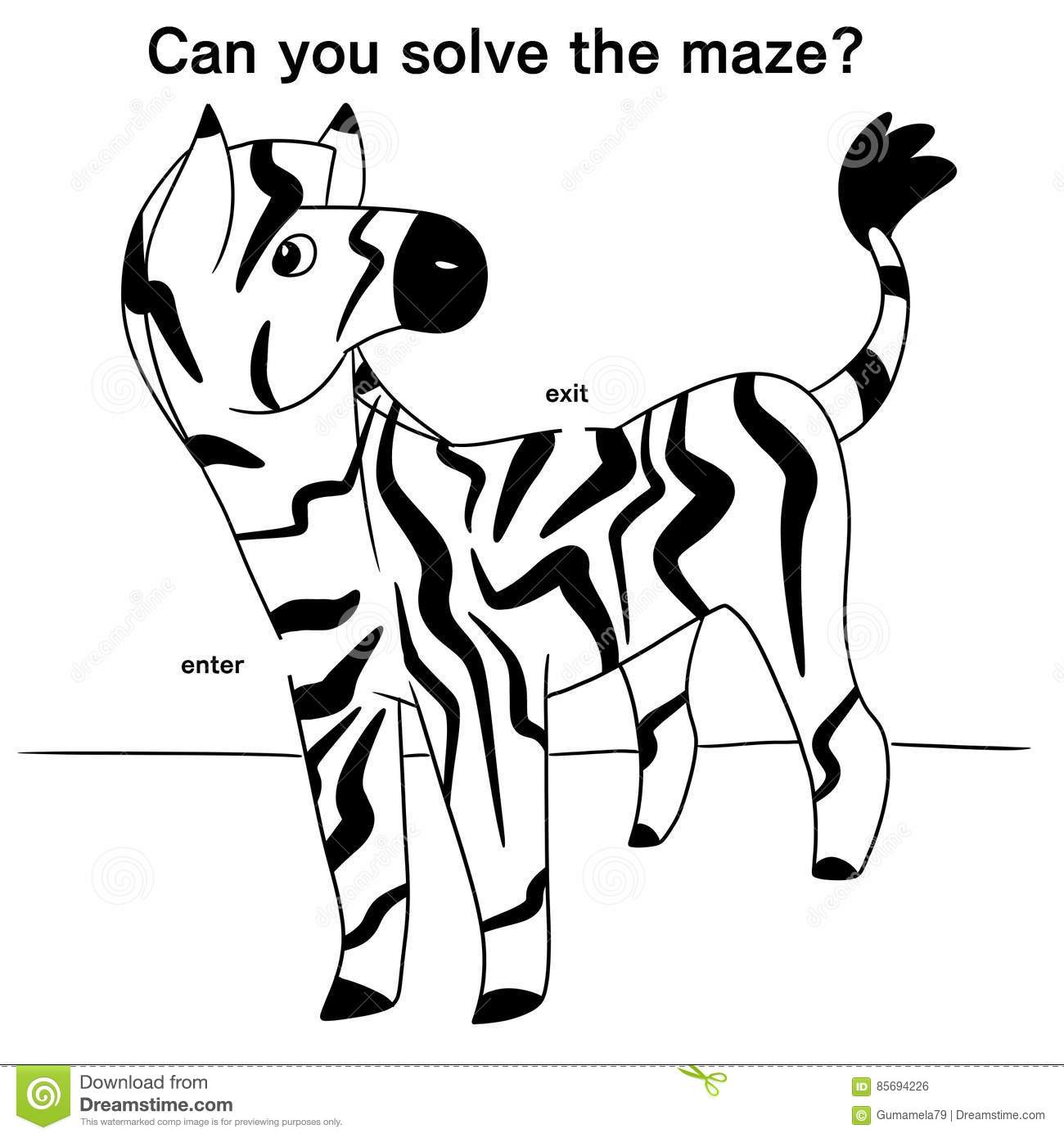 Illustration Of A Zebra Maze Stock Illustration