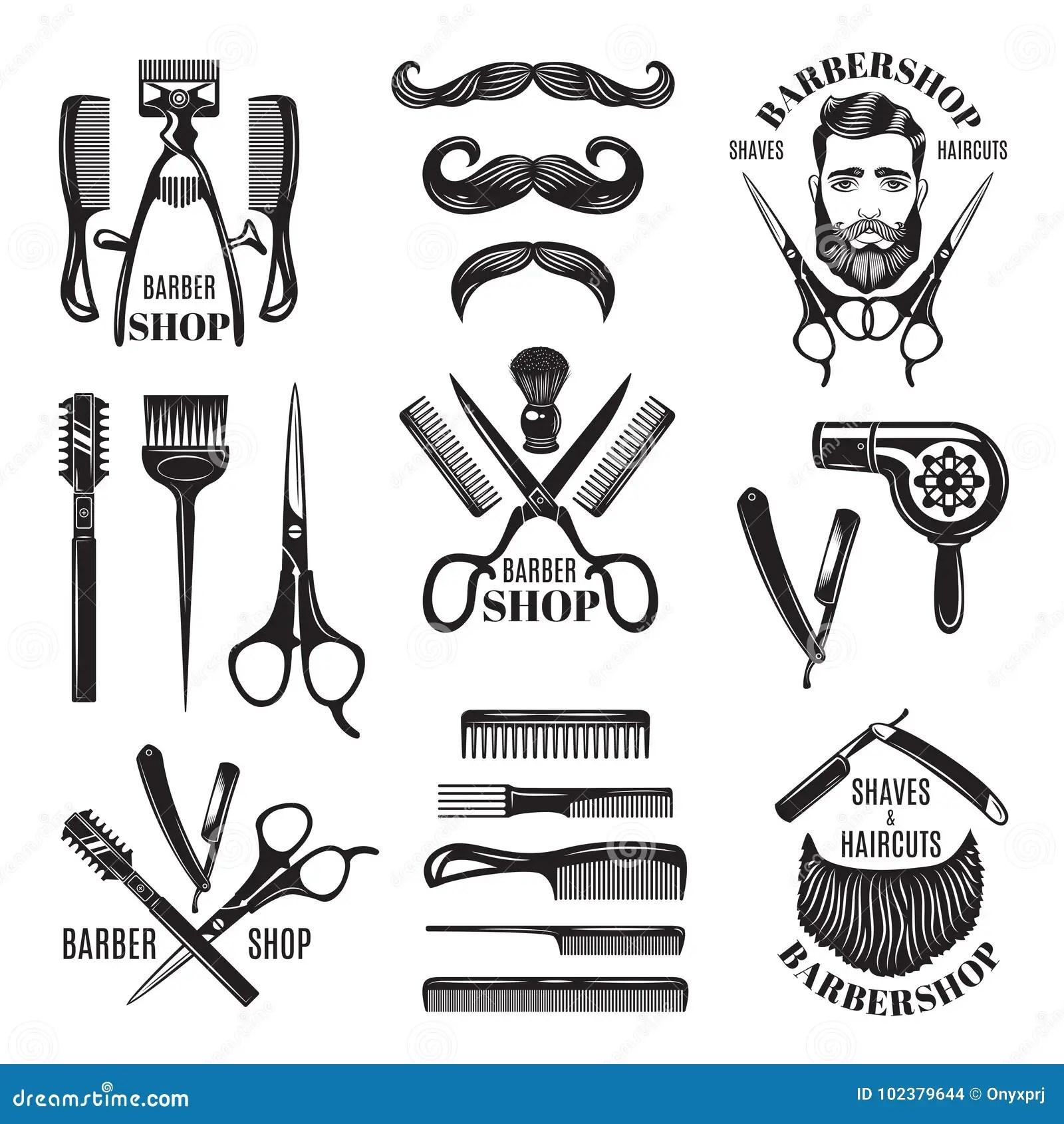 Illustrations Set Of Different Barber Shop Tools Symbols
