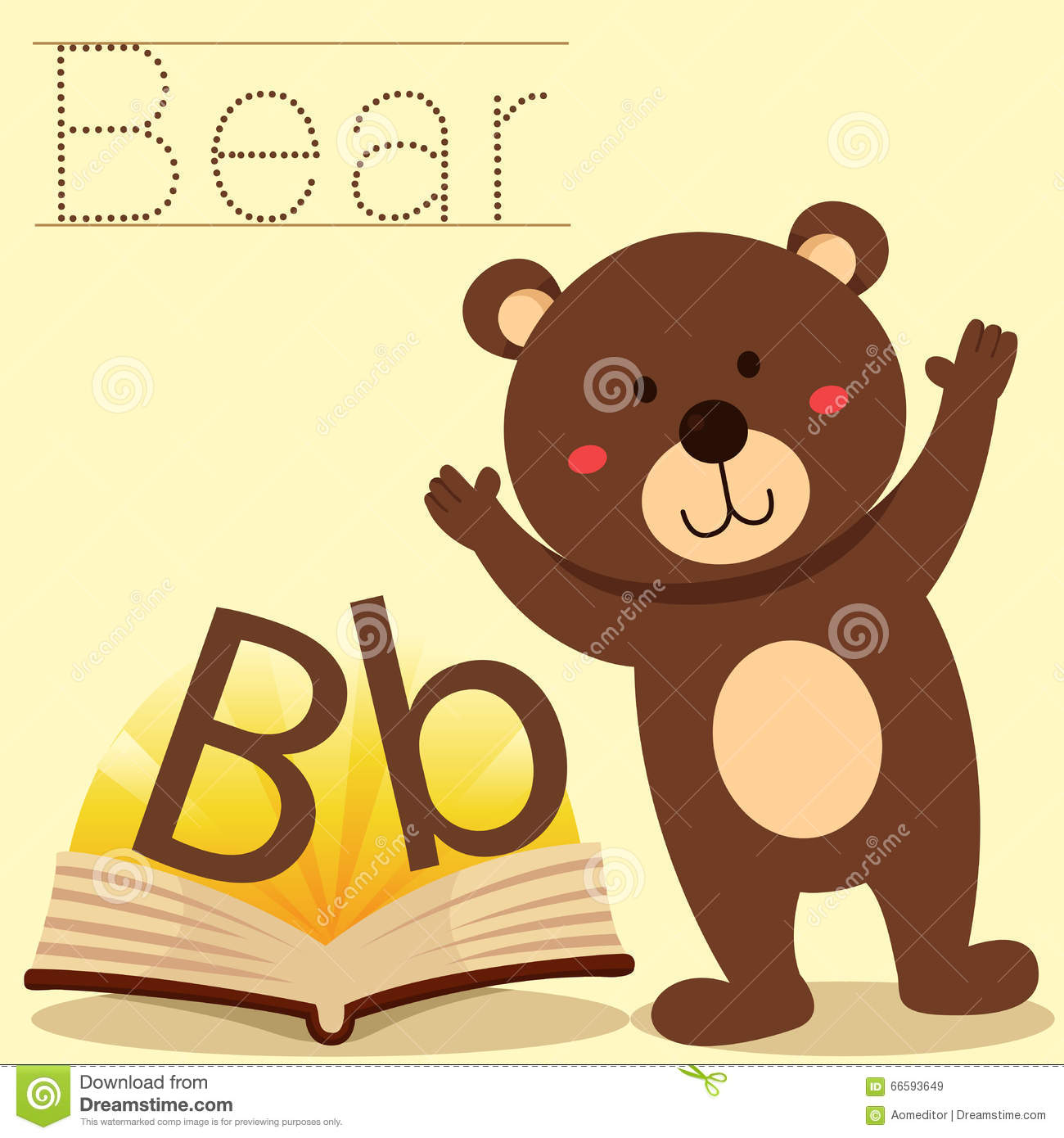 Illustrator Of B For Bear Vocabulary Stock Vector