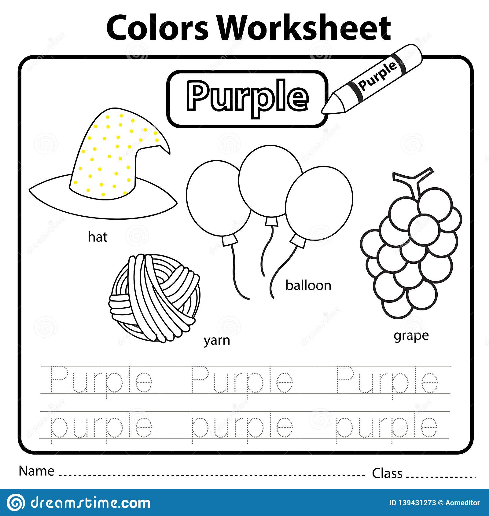 Illustrator Of Color Worksheet Purple Stock Vector