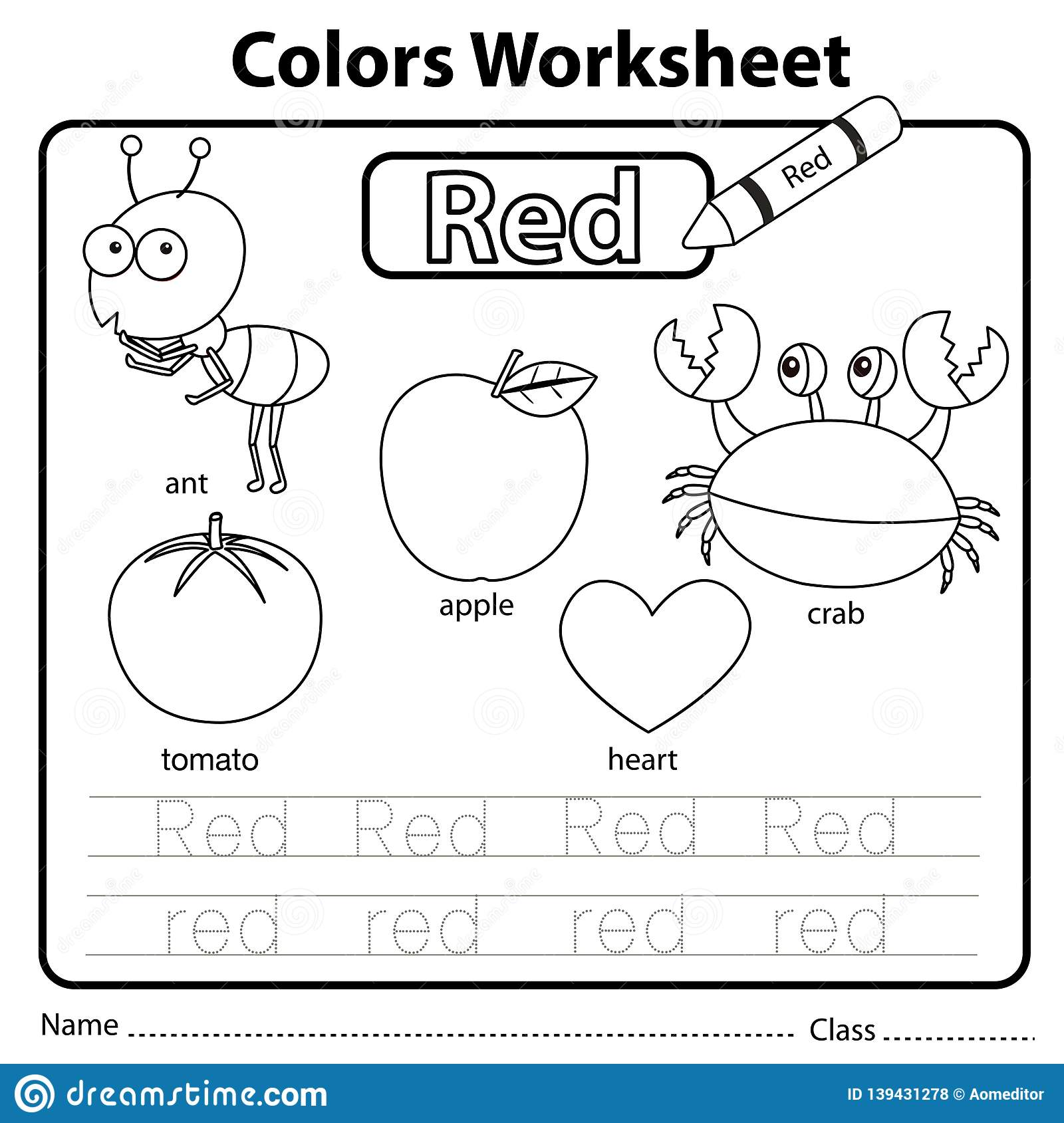 Illustrator Of Color Worksheet Red Stock Vector