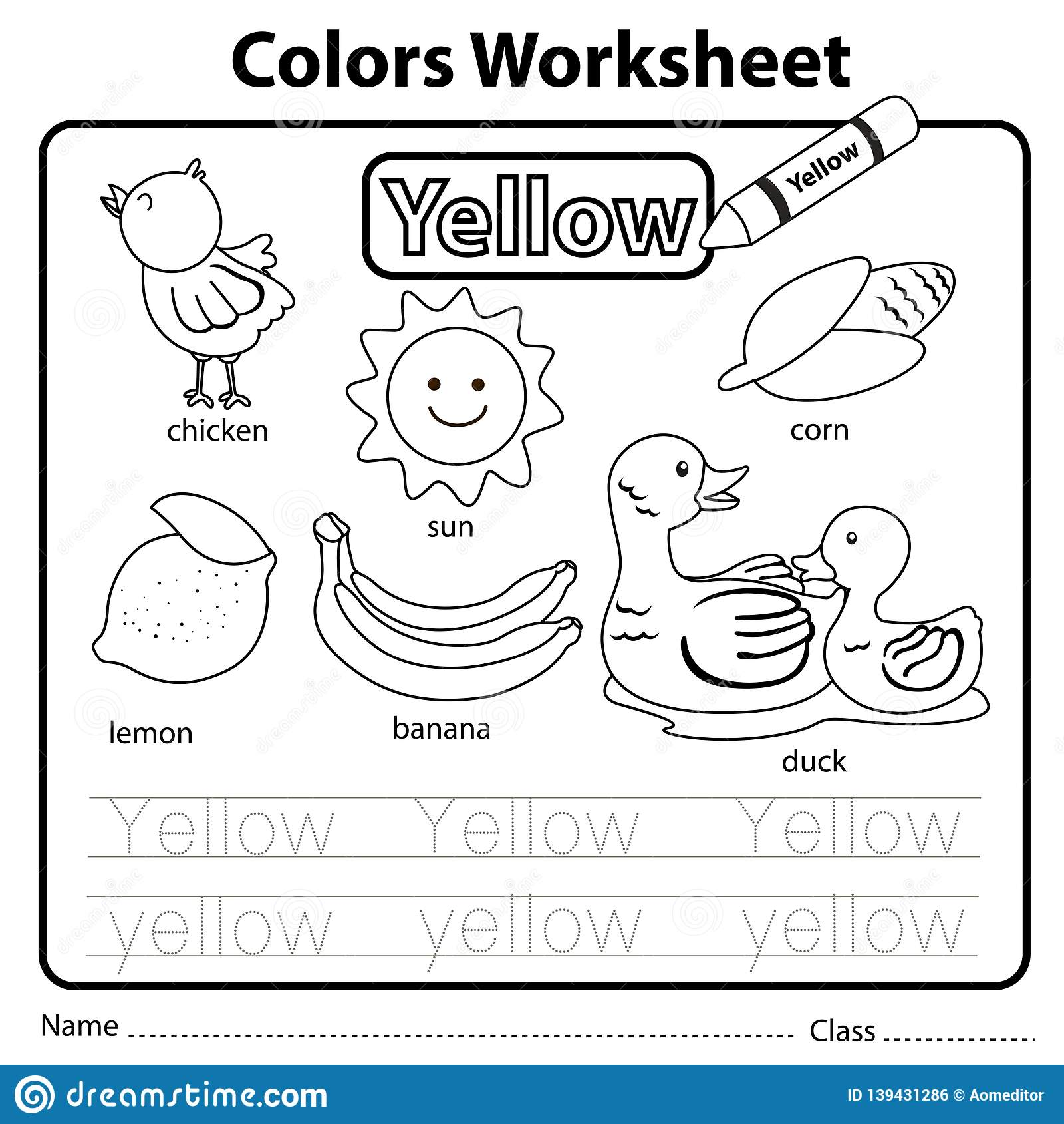 Illustrator Of Color Worksheet Yellow Stock Vector