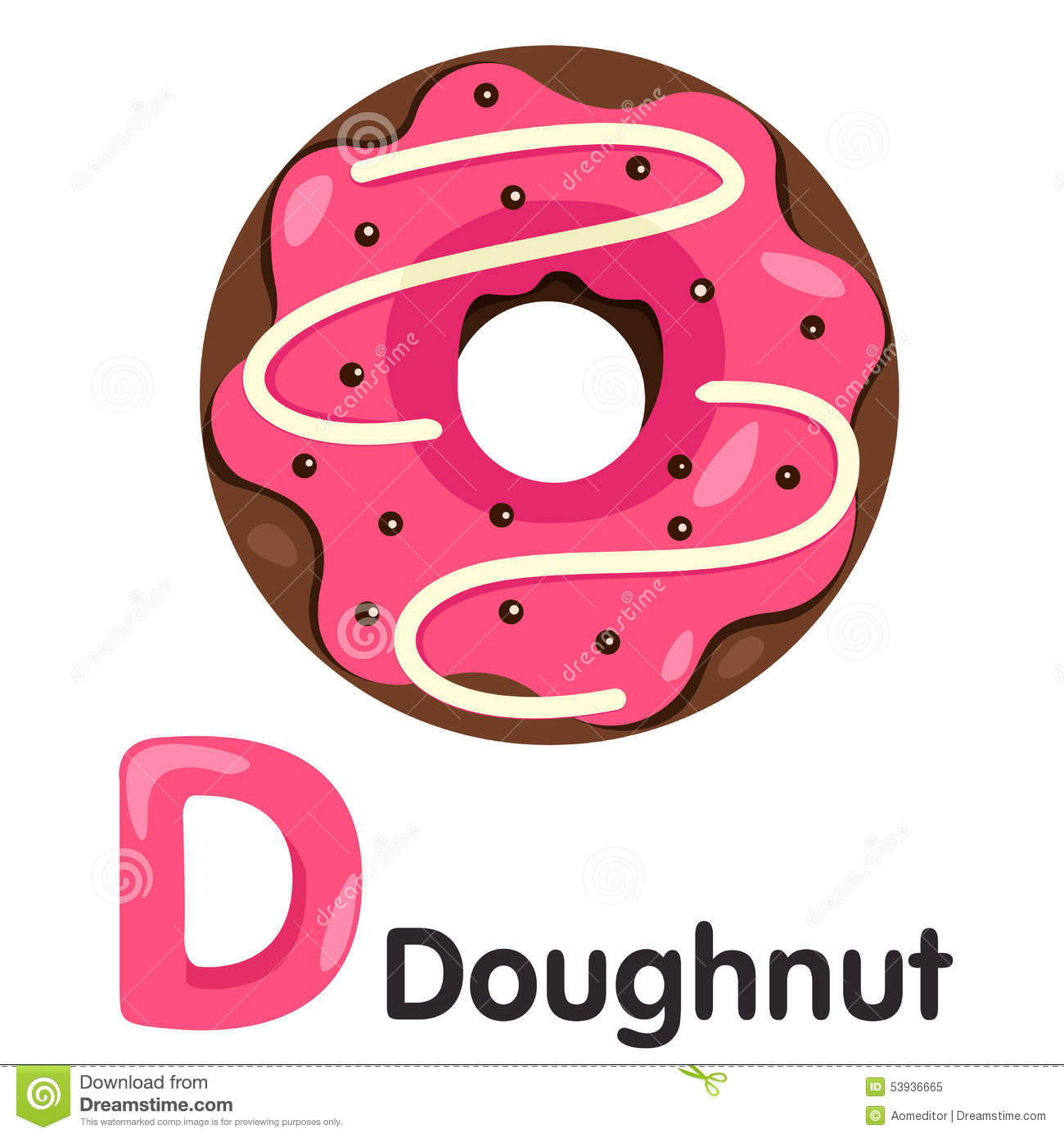 Illustrator Of D Font With Donut Stock Vector
