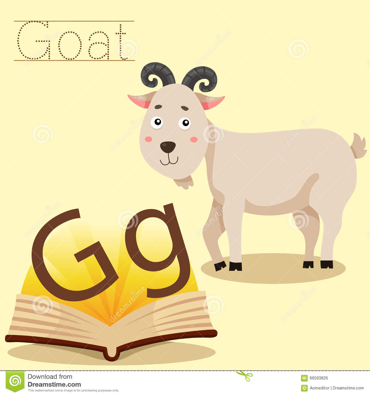 Illustrator Of G For Goat Vocabulary Stock Vector