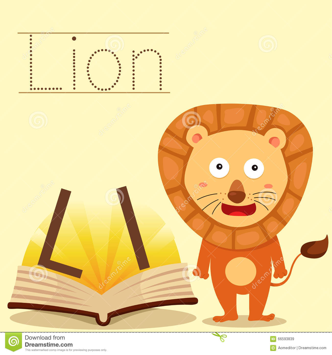 Illustrator Of L For Lion Bee Vocabulary Stock Vector